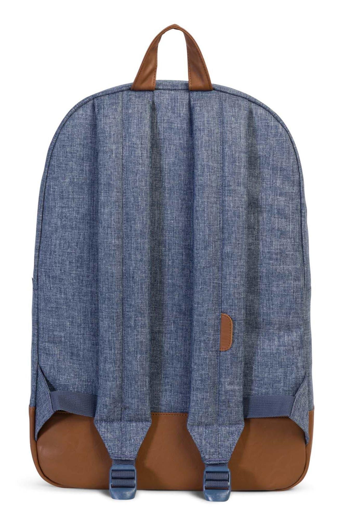 Heritage Backpack,                             Alternate thumbnail 2, color,                             Dark Blue Crosshatch/ Tan