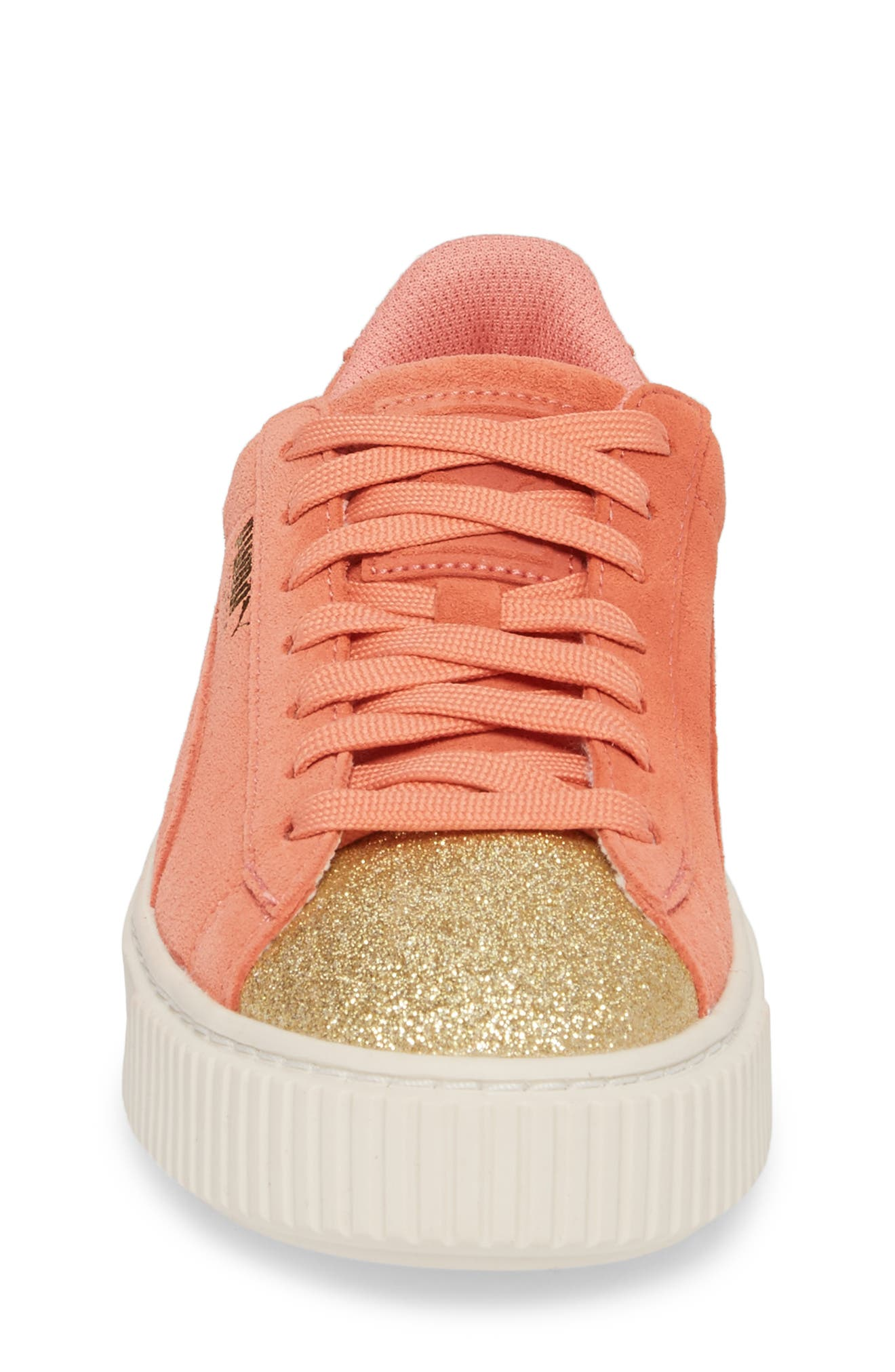 Suede Platform Glam PS Sneaker,                             Alternate thumbnail 4, color,                             Puma Team Gold/ Shell Pink