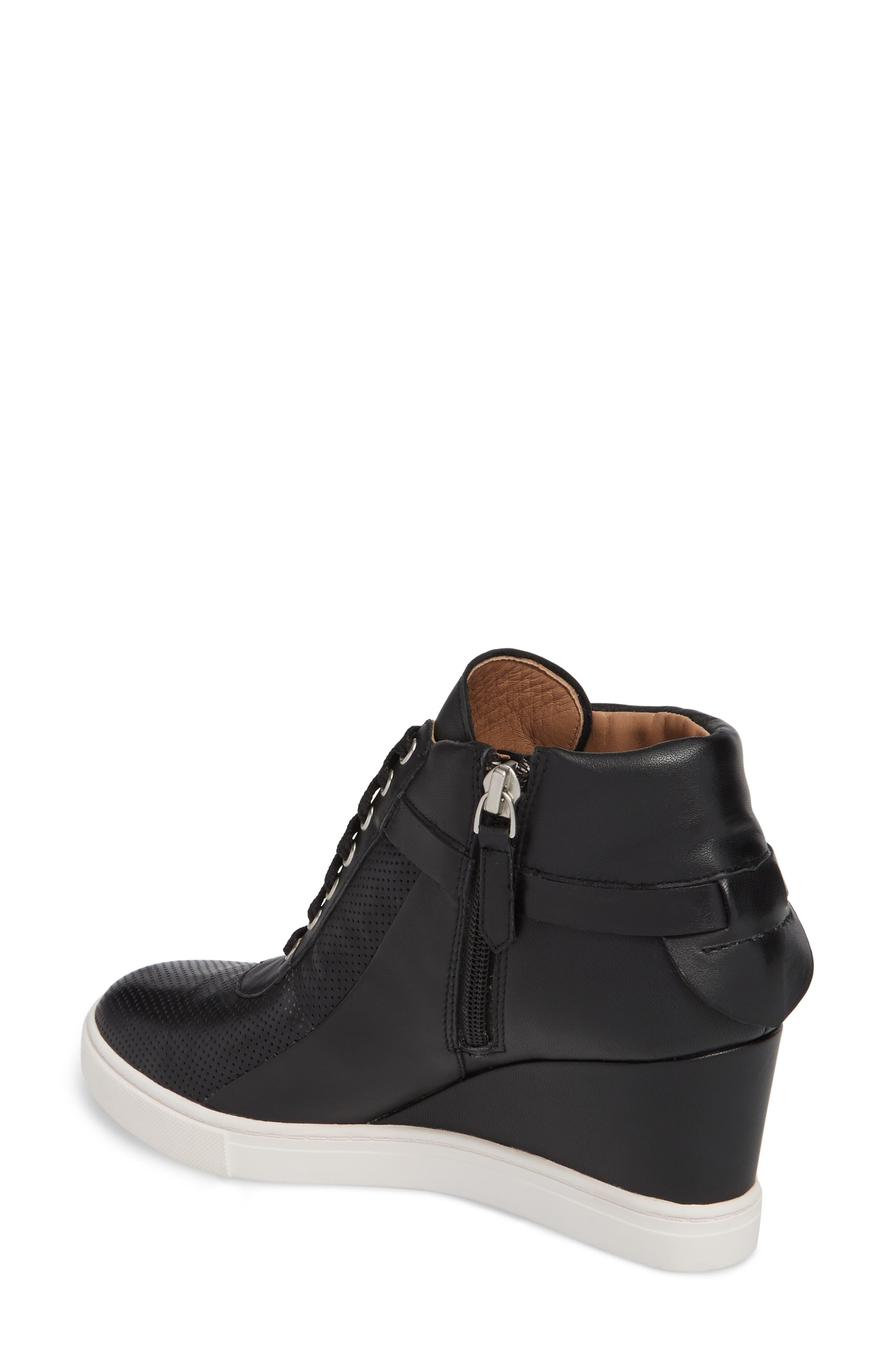 Freja Wedge Sneaker,                             Alternate thumbnail 2, color,                             Black Leather