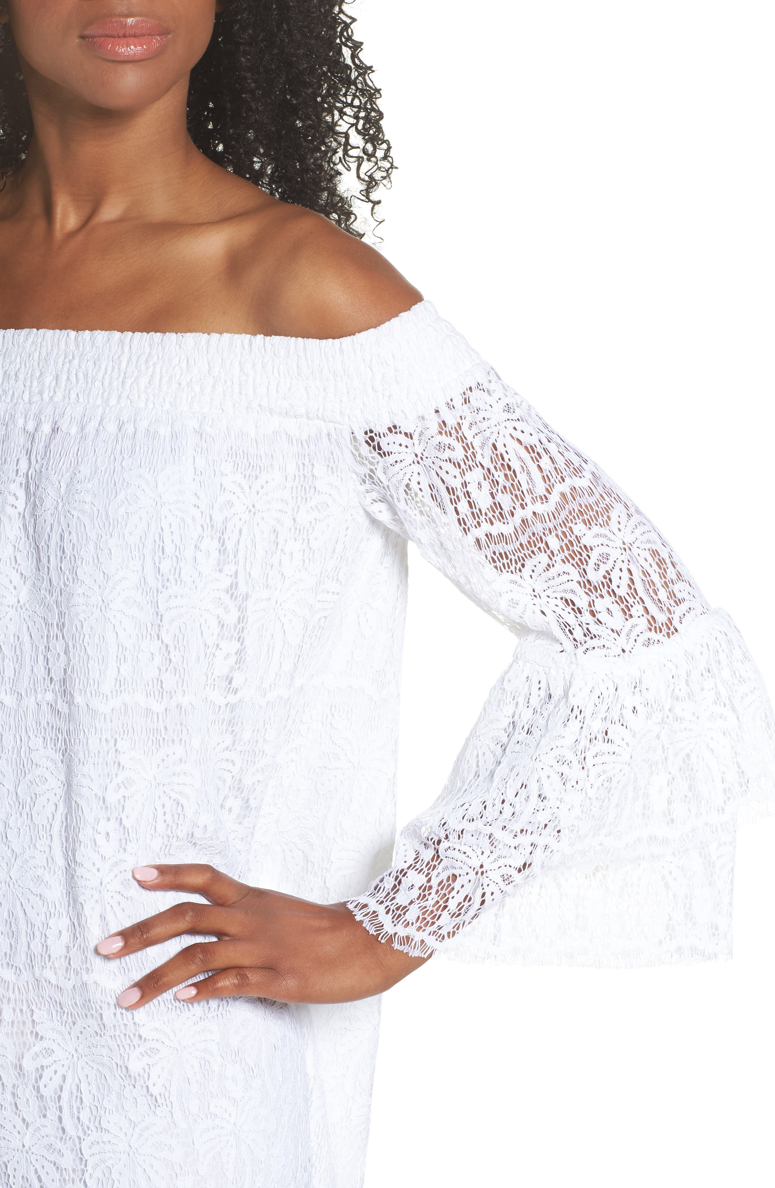 Tobyn Off the Shoulder Dres,                             Alternate thumbnail 4, color,                             Resort White Palm Tree Lace