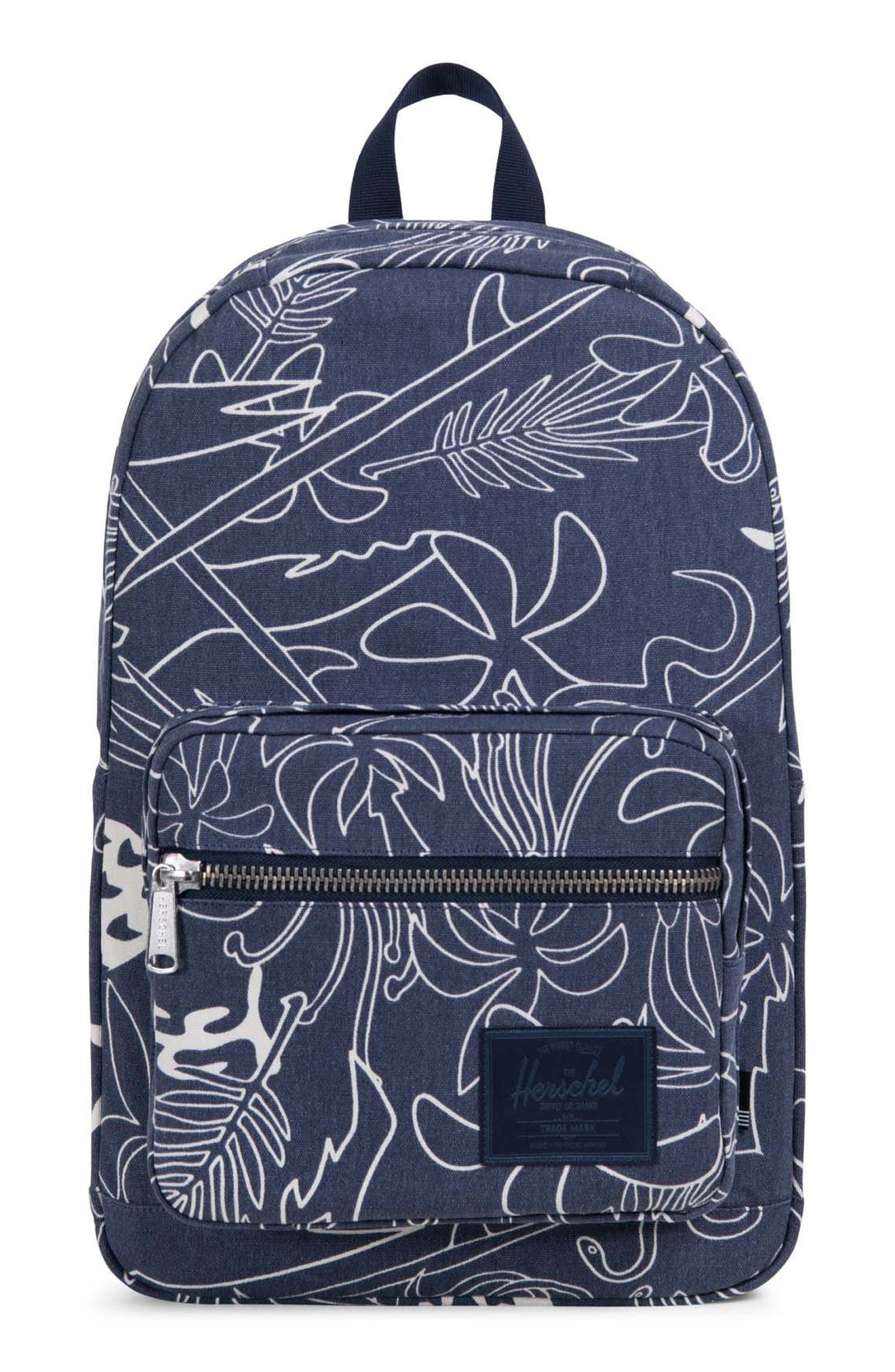 Pop Quiz Print Canvas Backpack,                         Main,                         color, Abstract Island