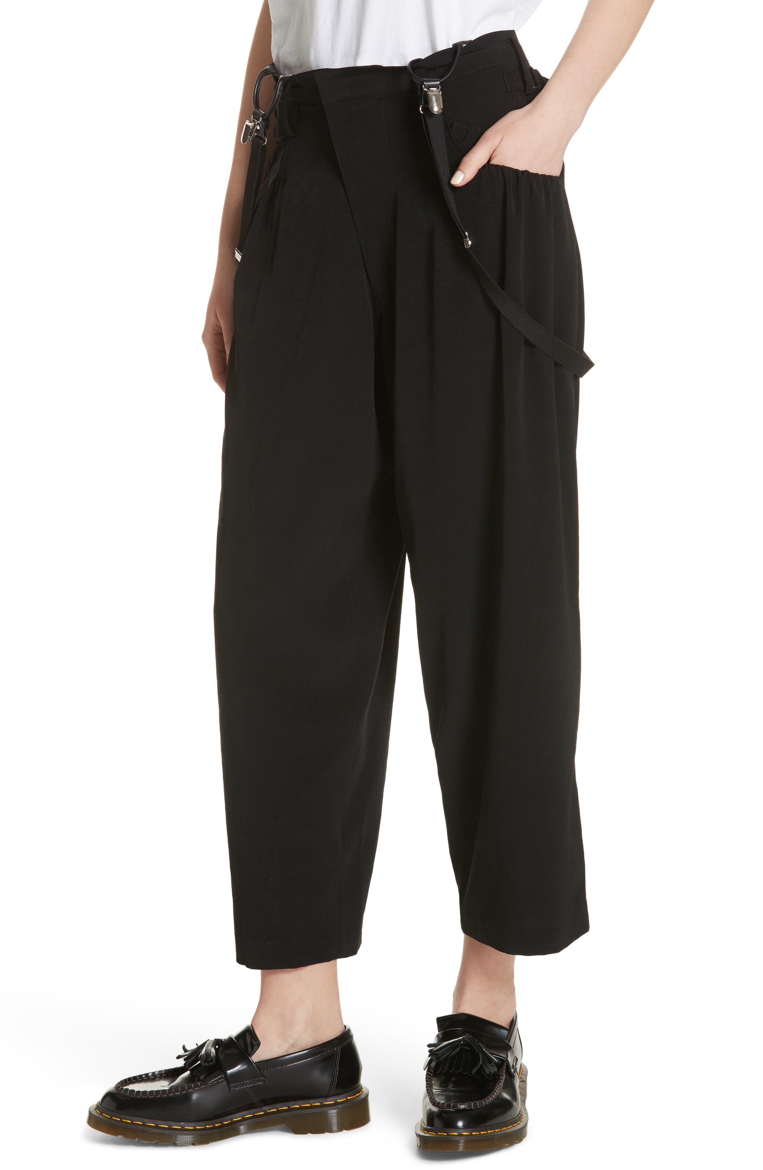 Pants with Suspenders,                             Alternate thumbnail 4, color,                             Black
