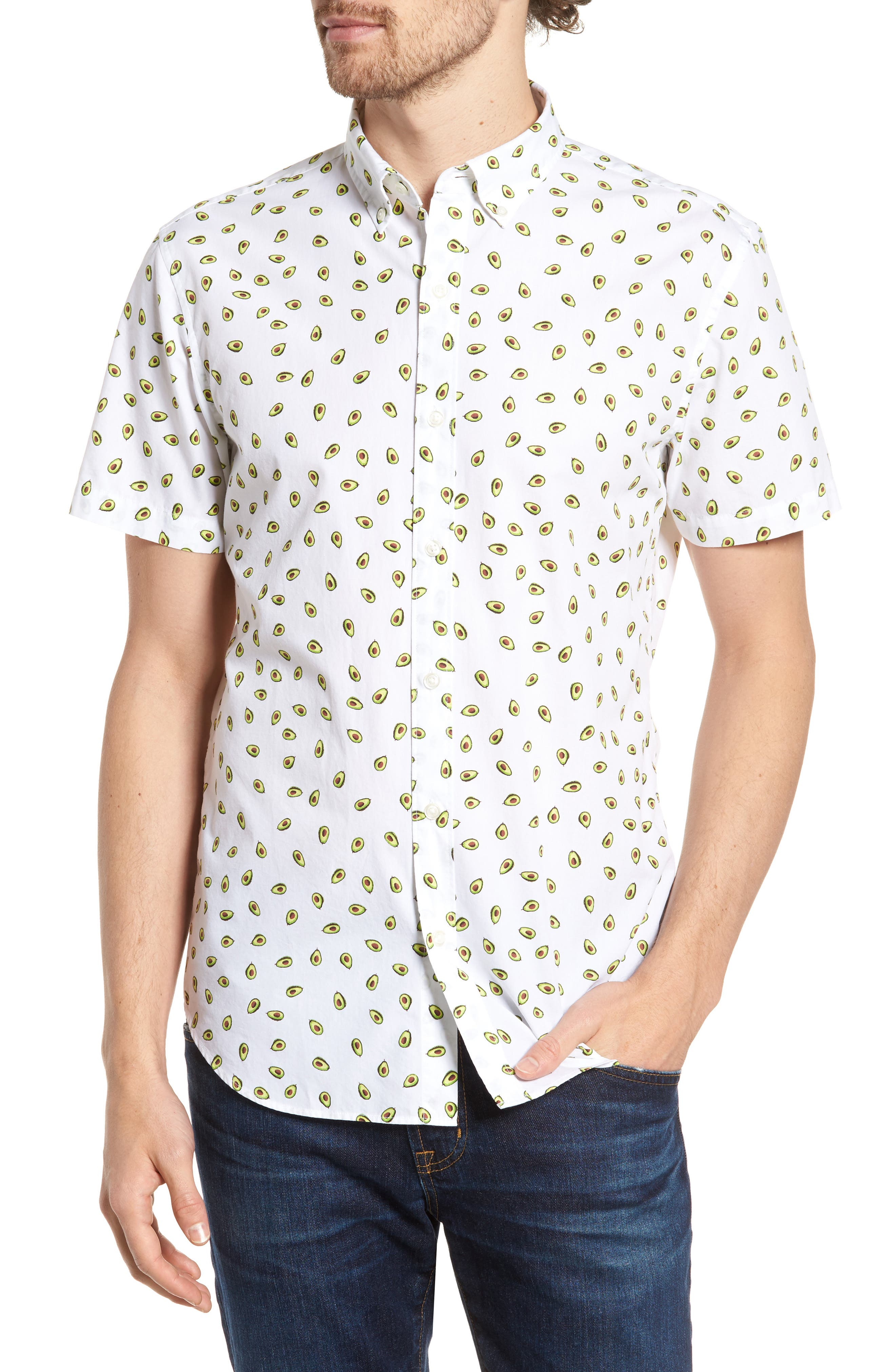 Slim Fit Print Short Sleeve Sport Shirt,                             Main thumbnail 1, color,                             Avocados - Key Lime