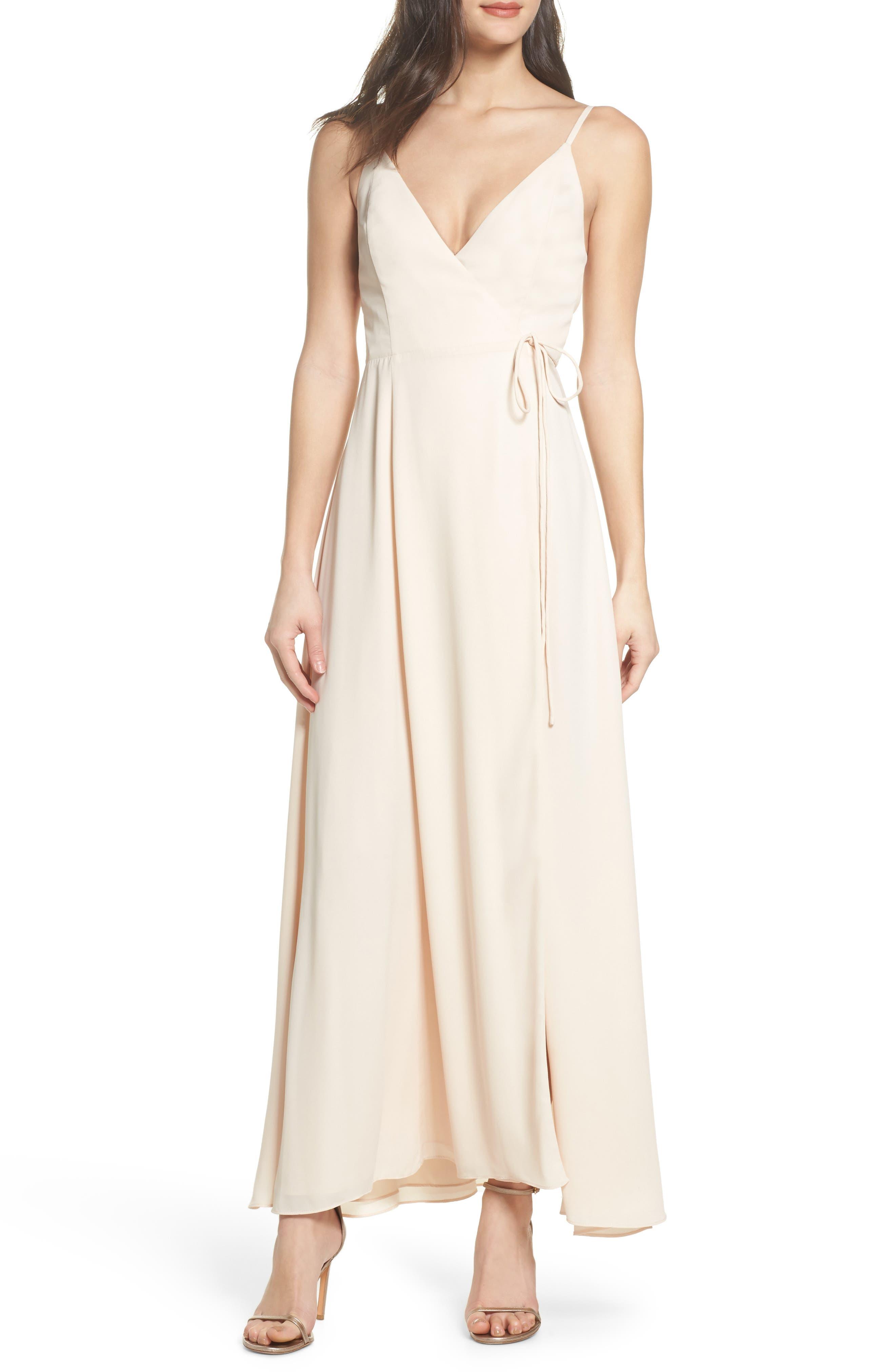 Tilbury Georgette Wrap Maxi Dress,                         Main,                         color, Champagne