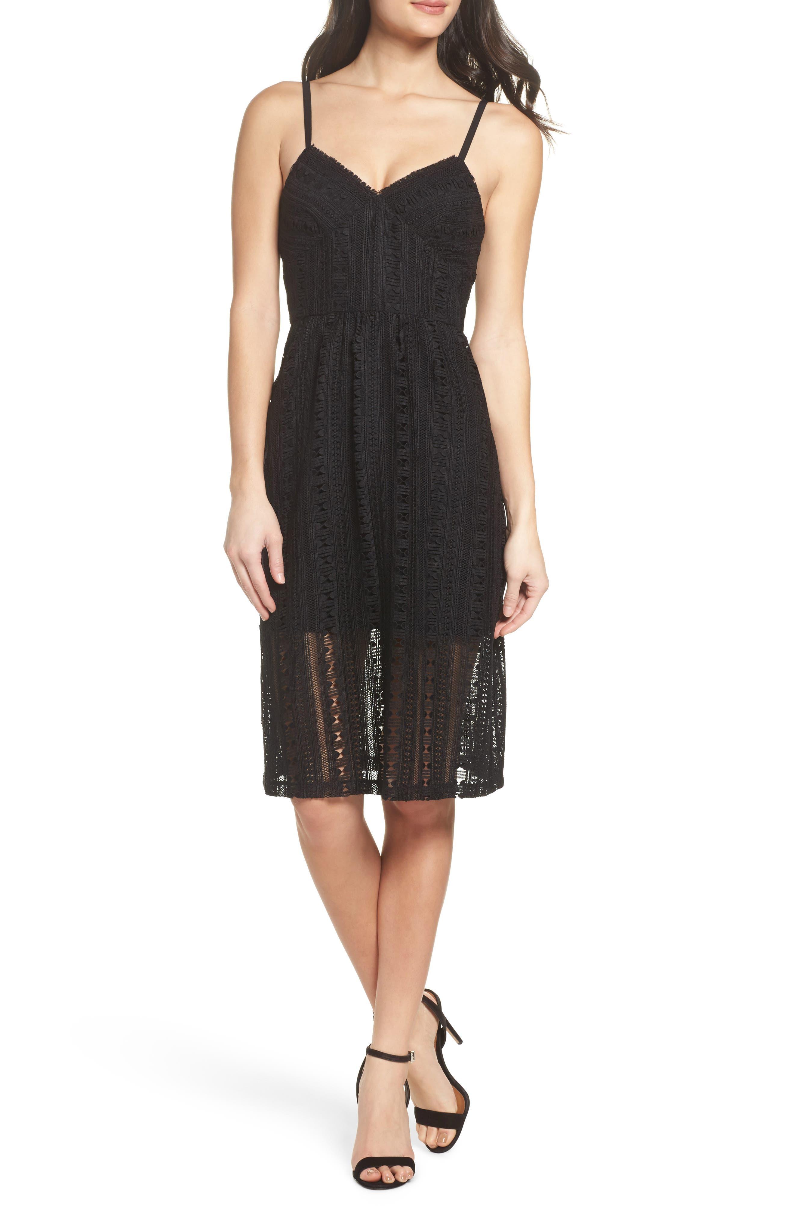 Belissimo Lace Fit & Flare Midi Dress,                         Main,                         color, Black