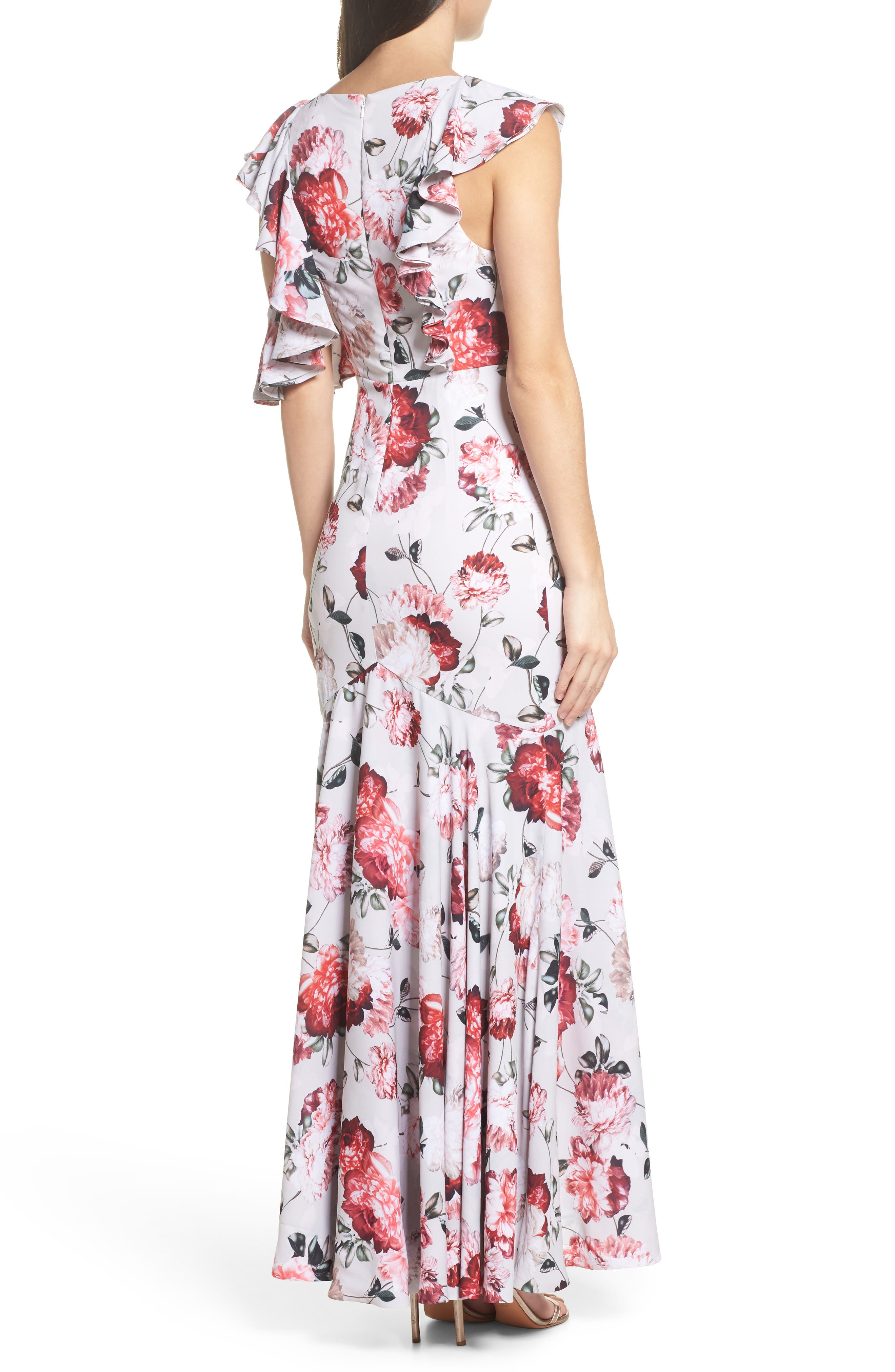 Beckman Floral Georgette Ruffle Maxi Dress,                             Alternate thumbnail 2, color,                             Blushing Blooms