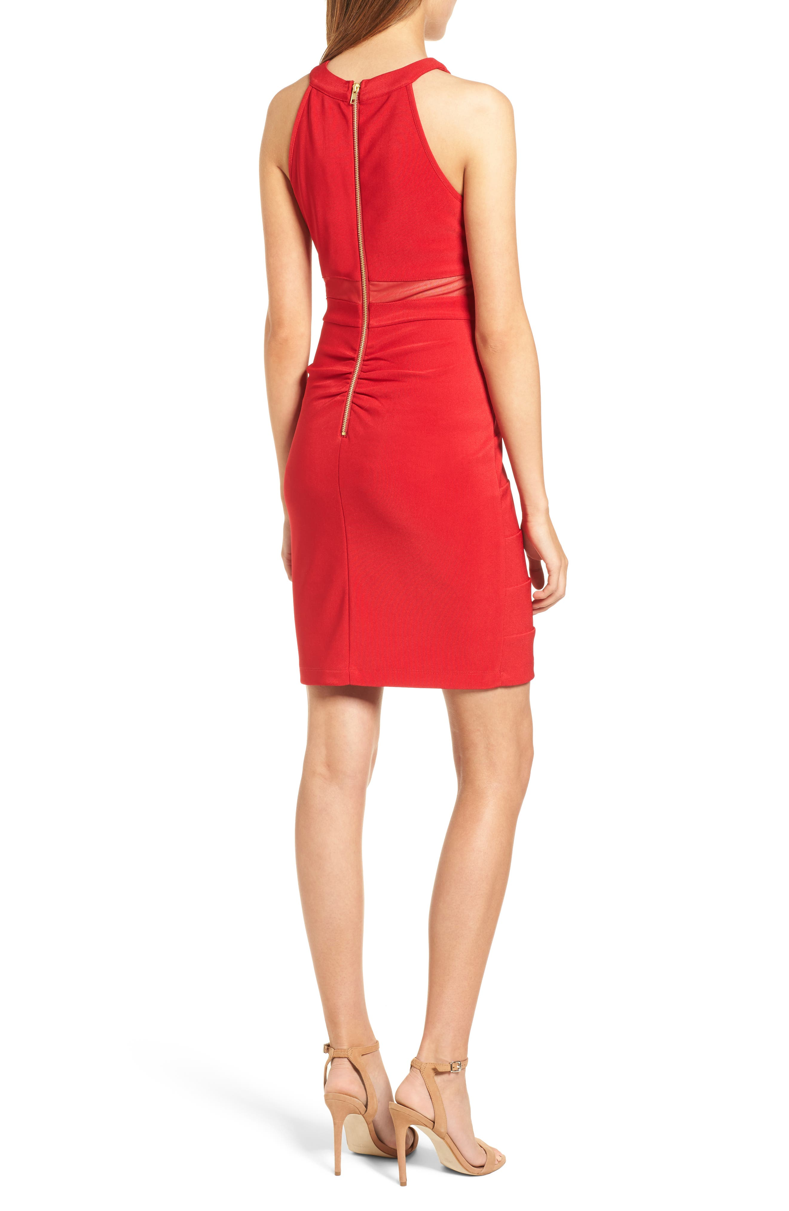 Illusion Body-Con Dress,                             Alternate thumbnail 2, color,                             Red