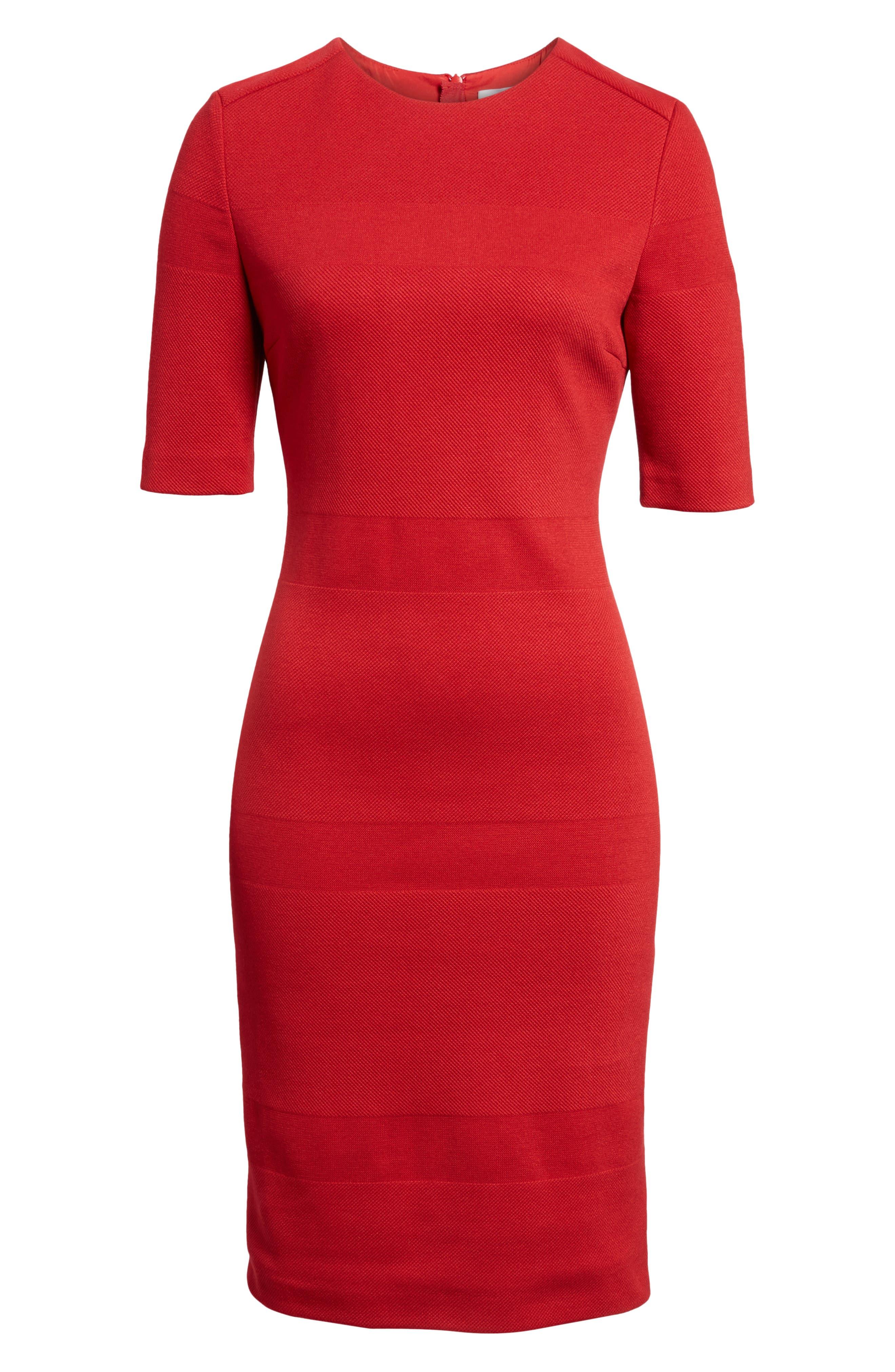 Hibela Tonal Stripe Dress,                             Alternate thumbnail 6, color,                             Crimson Red