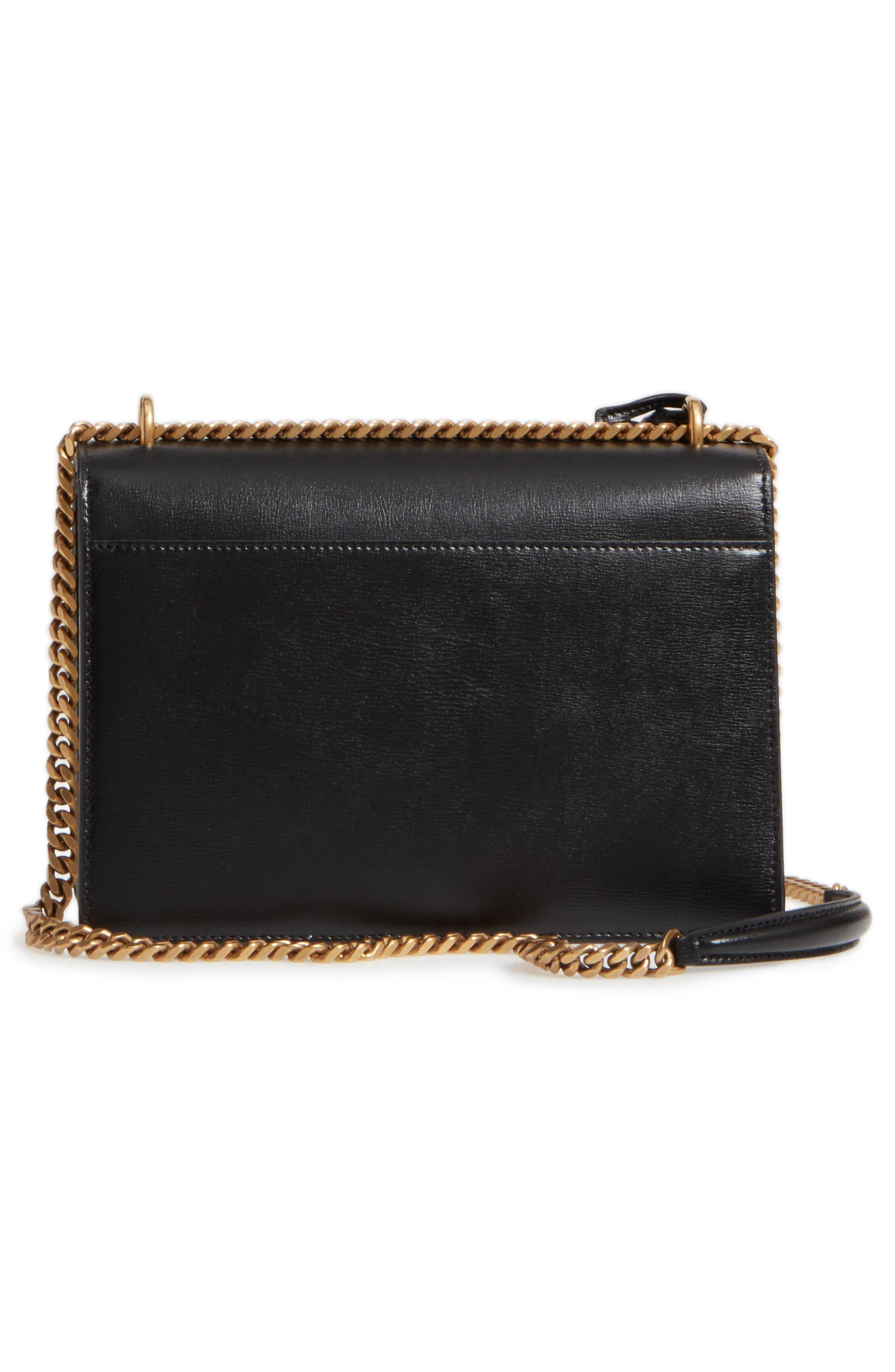 Medium Sunset Leather Shoulder Bag,                             Alternate thumbnail 3, color,                             Black/ White