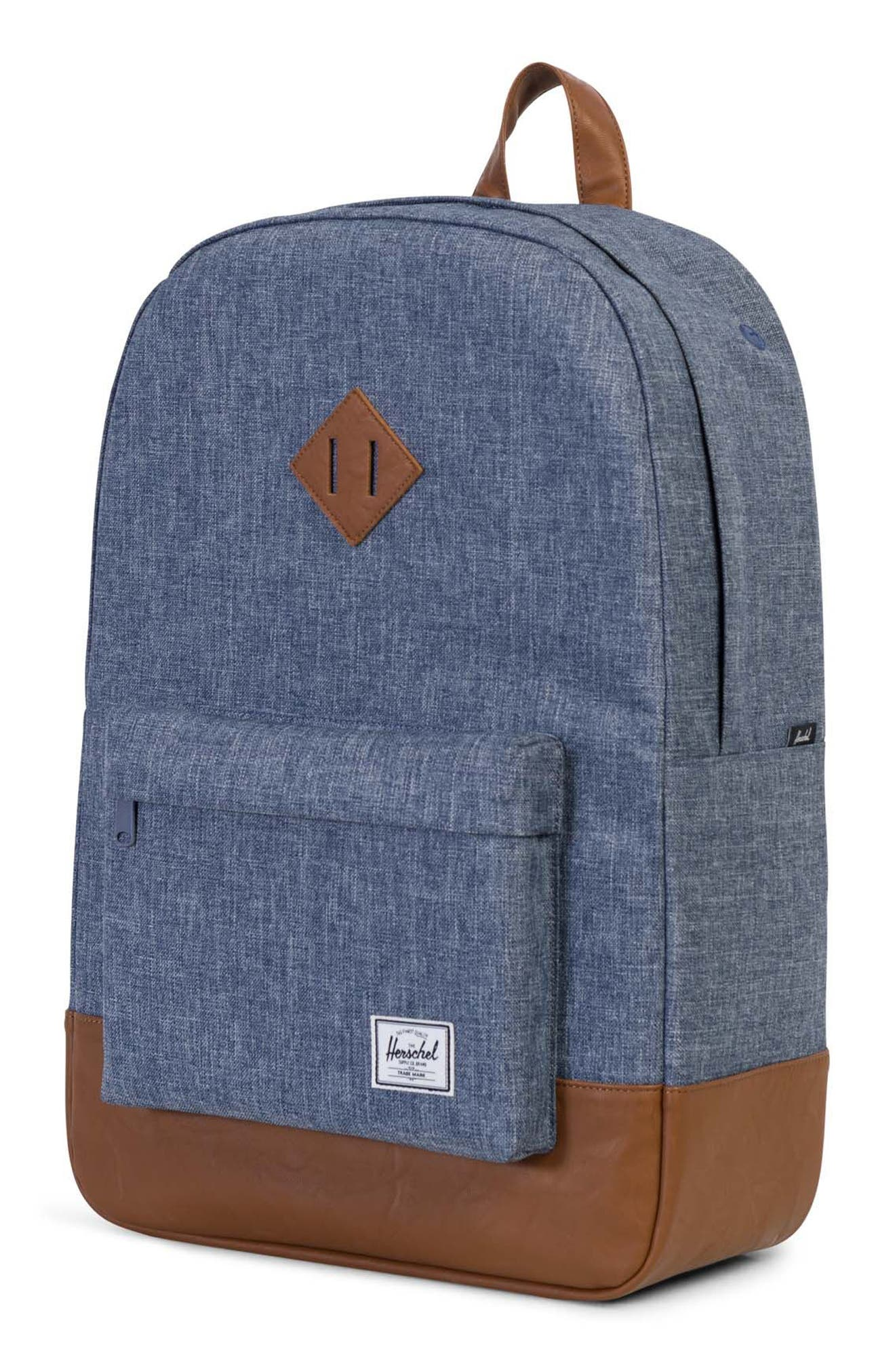Heritage Backpack,                             Alternate thumbnail 4, color,                             Dark Blue Crosshatch/ Tan