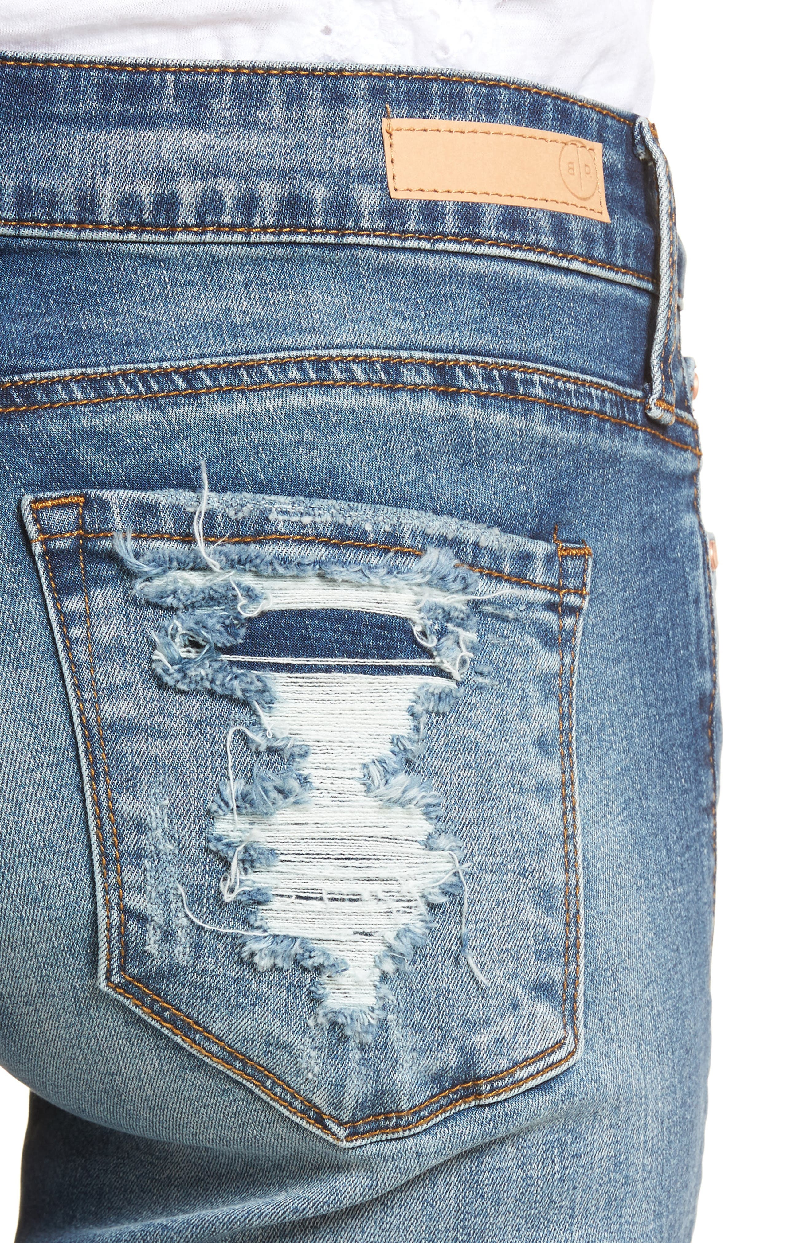 Distressed Fray Hem Skinny Jeans,                             Alternate thumbnail 3, color,                             Destroy