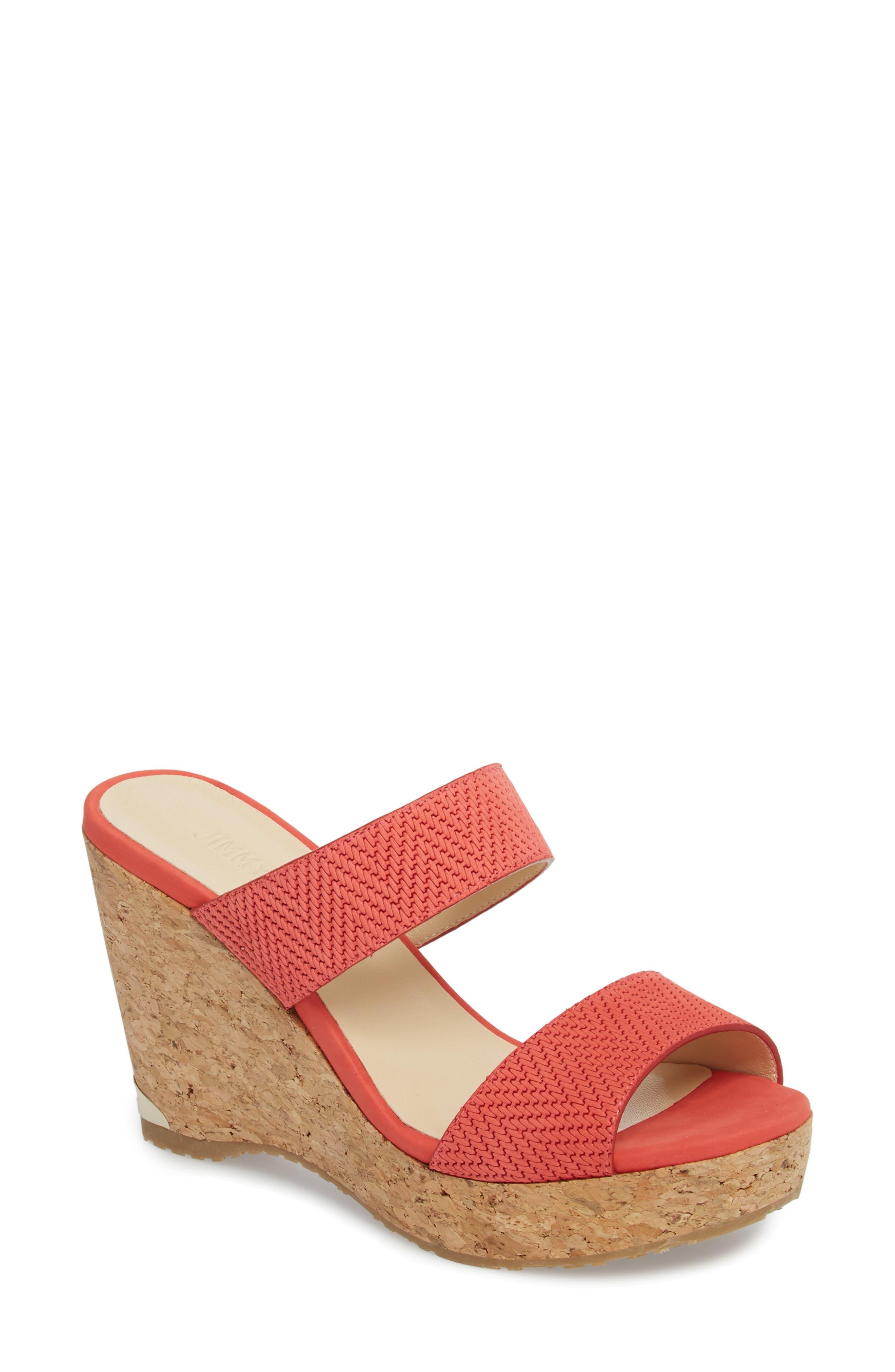 Parker Wedge Slide Sandal,                         Main,                         color, Flamingo Red