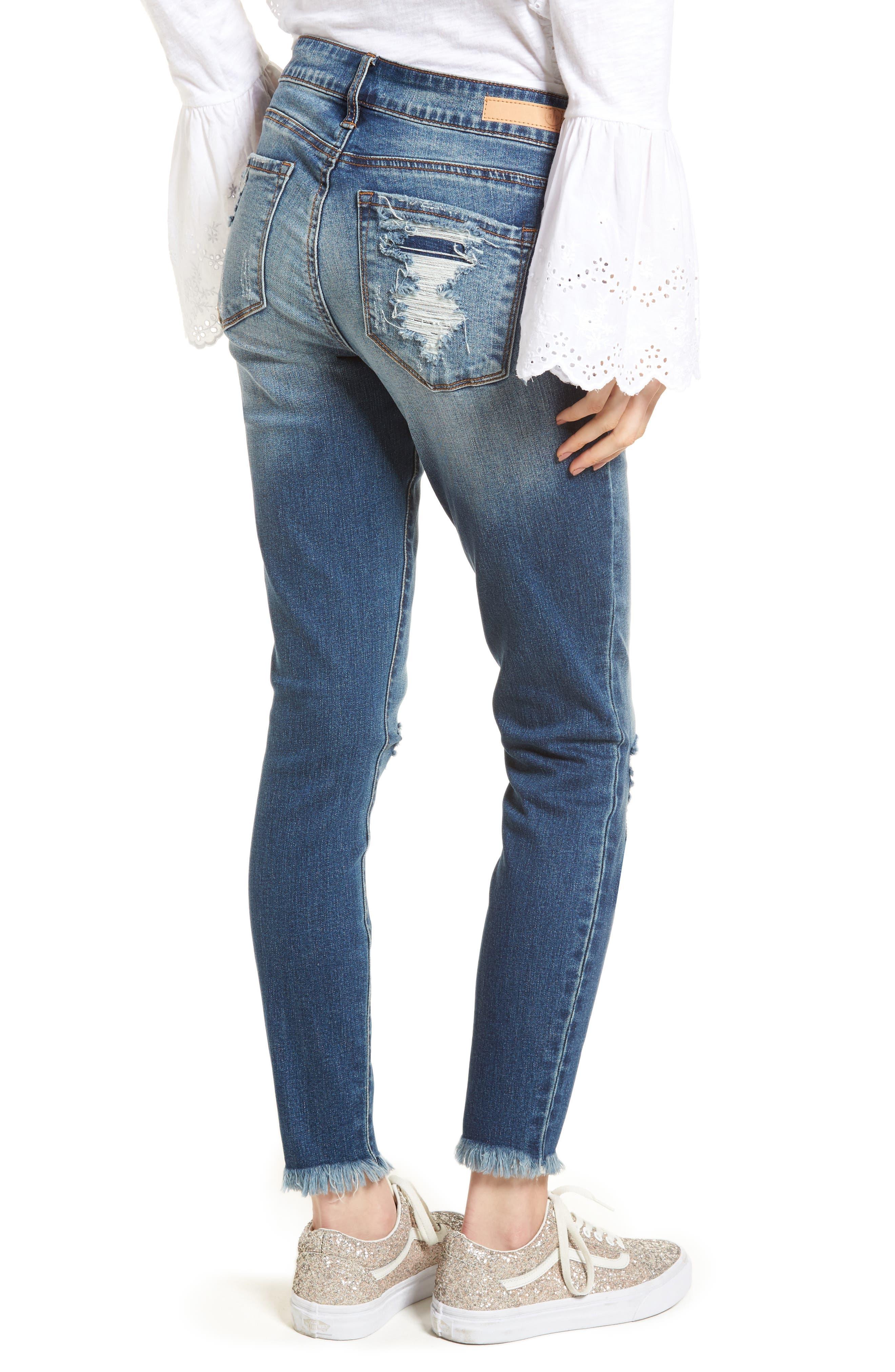 Distressed Fray Hem Skinny Jeans,                             Alternate thumbnail 6, color,                             Destroy