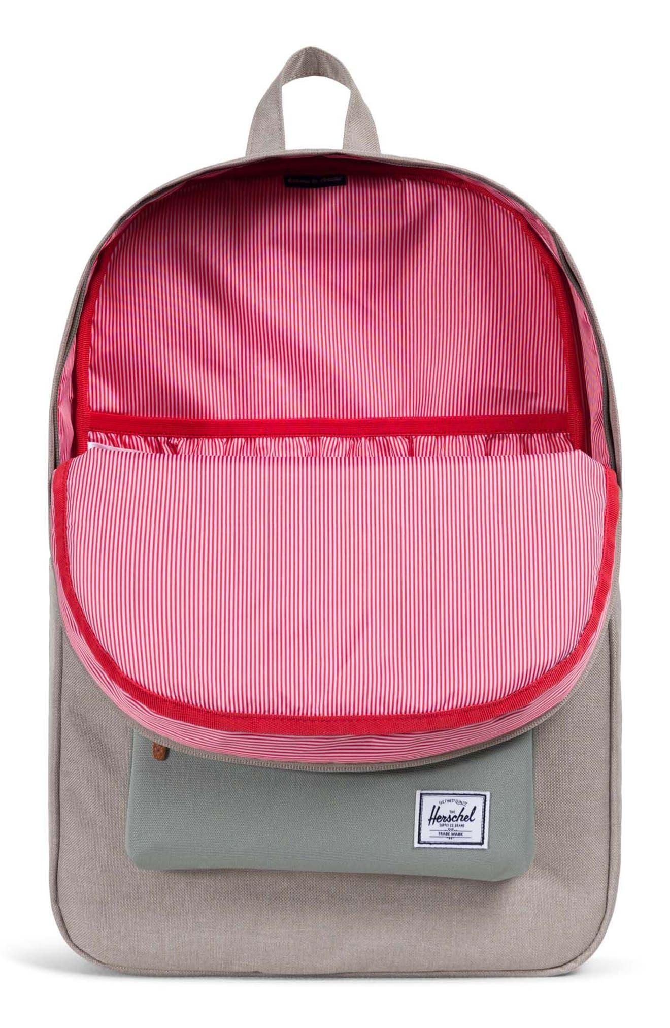 Heritage Backpack,                             Alternate thumbnail 3, color,                             Khaki/ Shadow/ Brick Red/ Tan