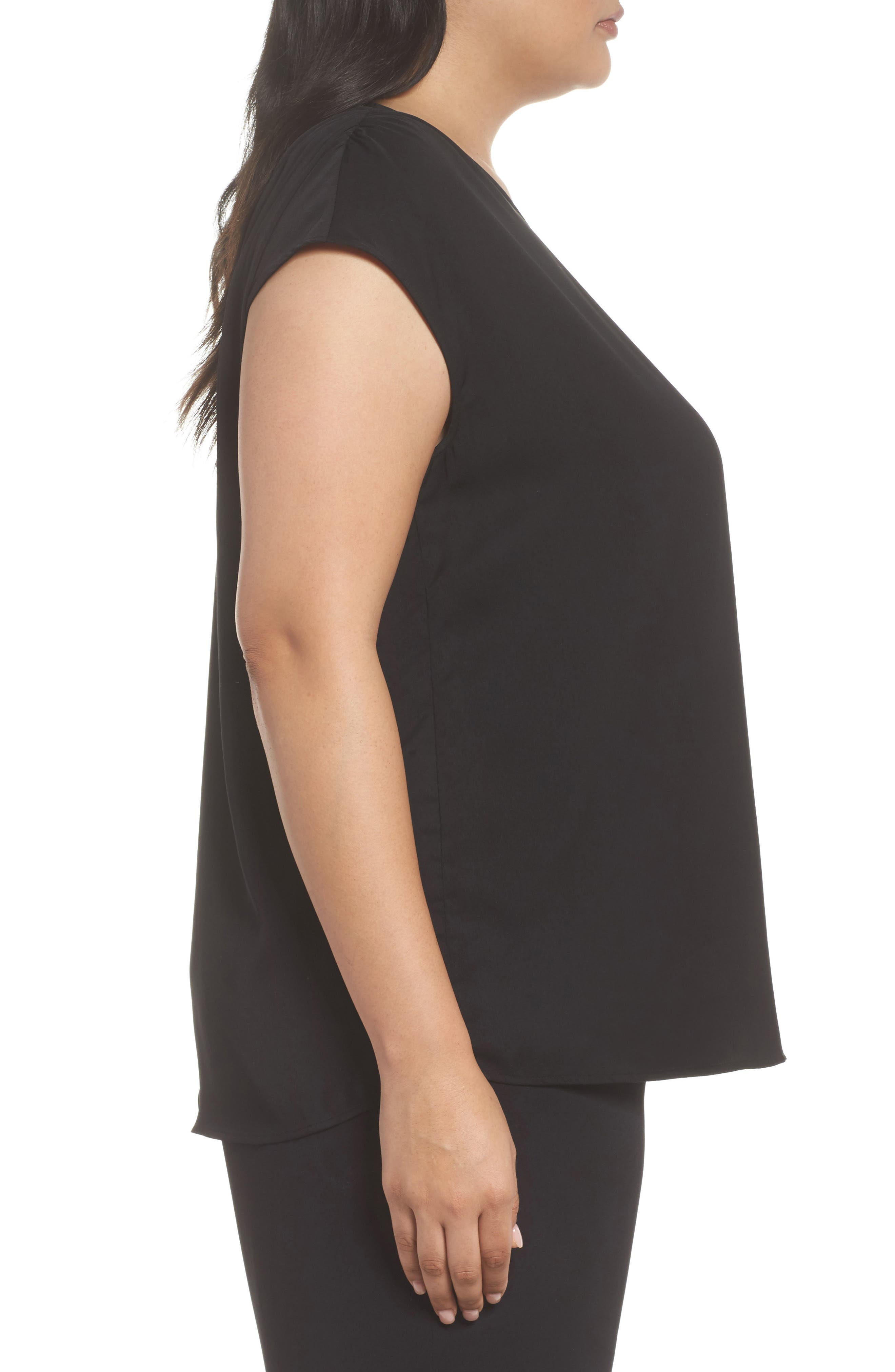 Ruched Shoulder Shell,                             Alternate thumbnail 4, color,                             Black