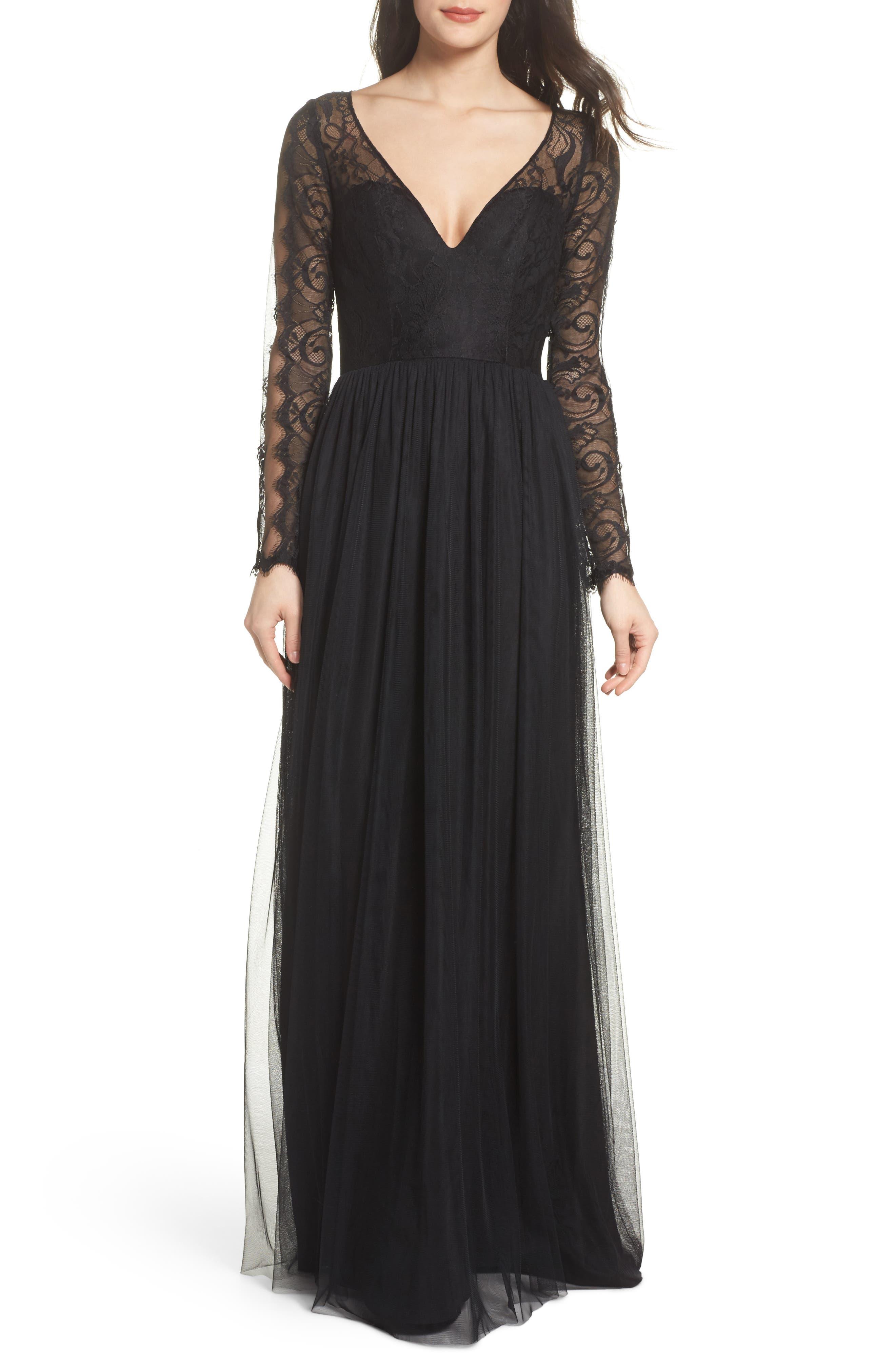 Open Back Lace & Net A-Line Gown,                             Main thumbnail 1, color,                             Black