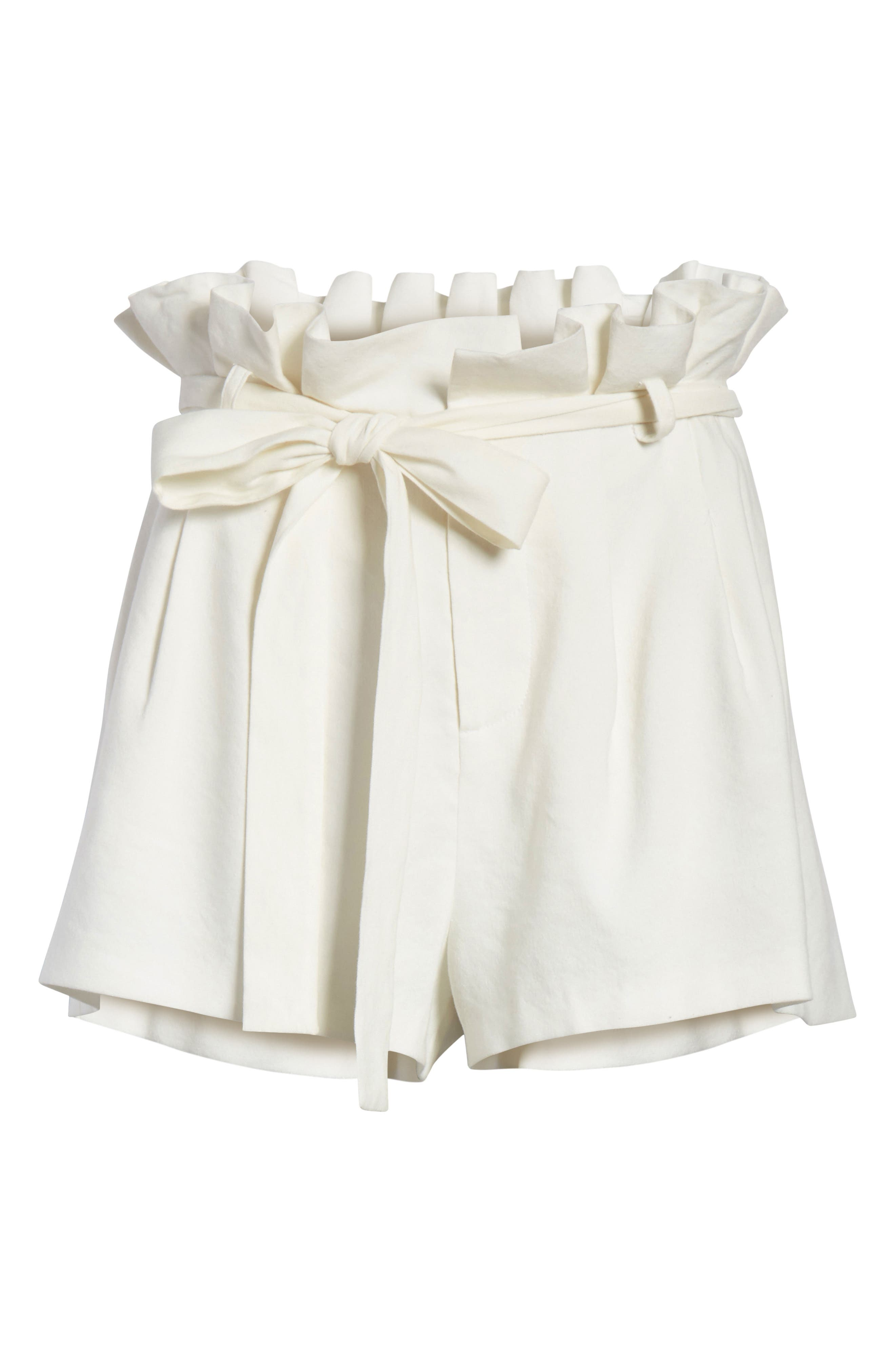 Laurine Paperbag Shorts,                             Alternate thumbnail 6, color,                             Off White