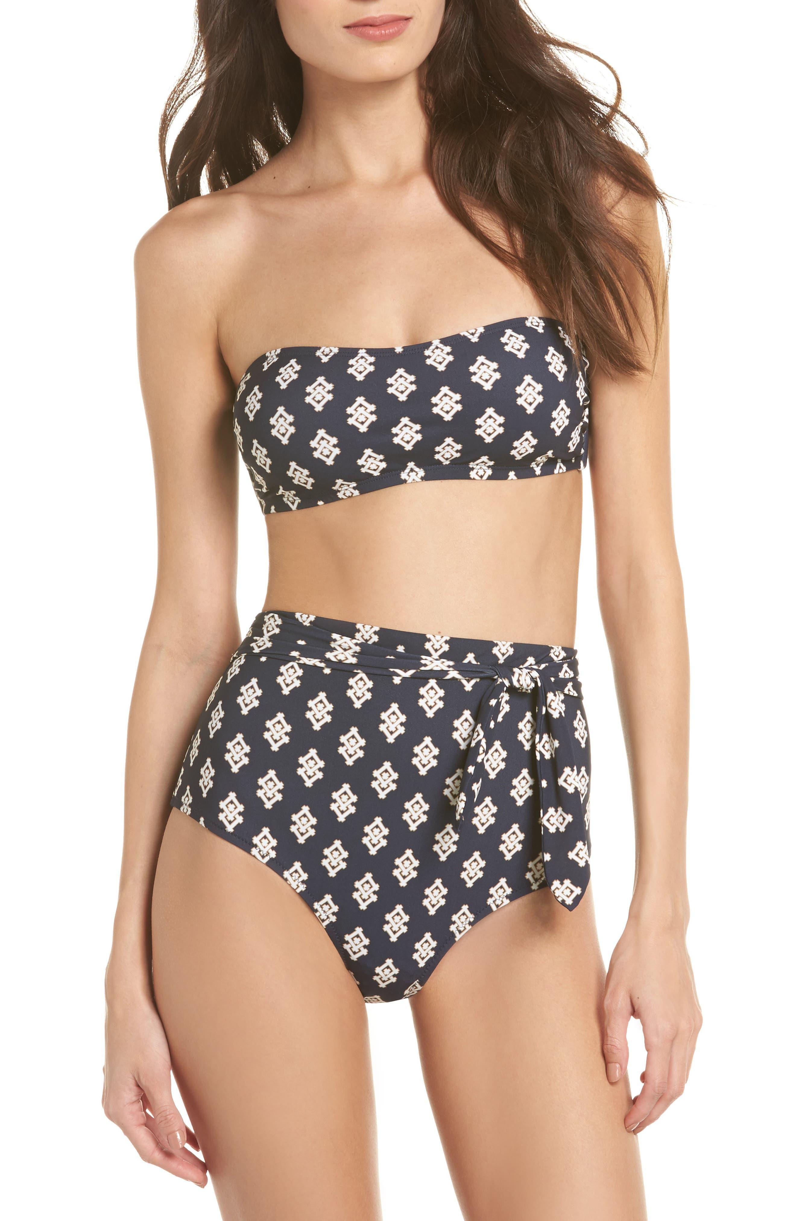Bandeau Bikini Top,                             Alternate thumbnail 4, color,                             Tory Navy Double Diamonds