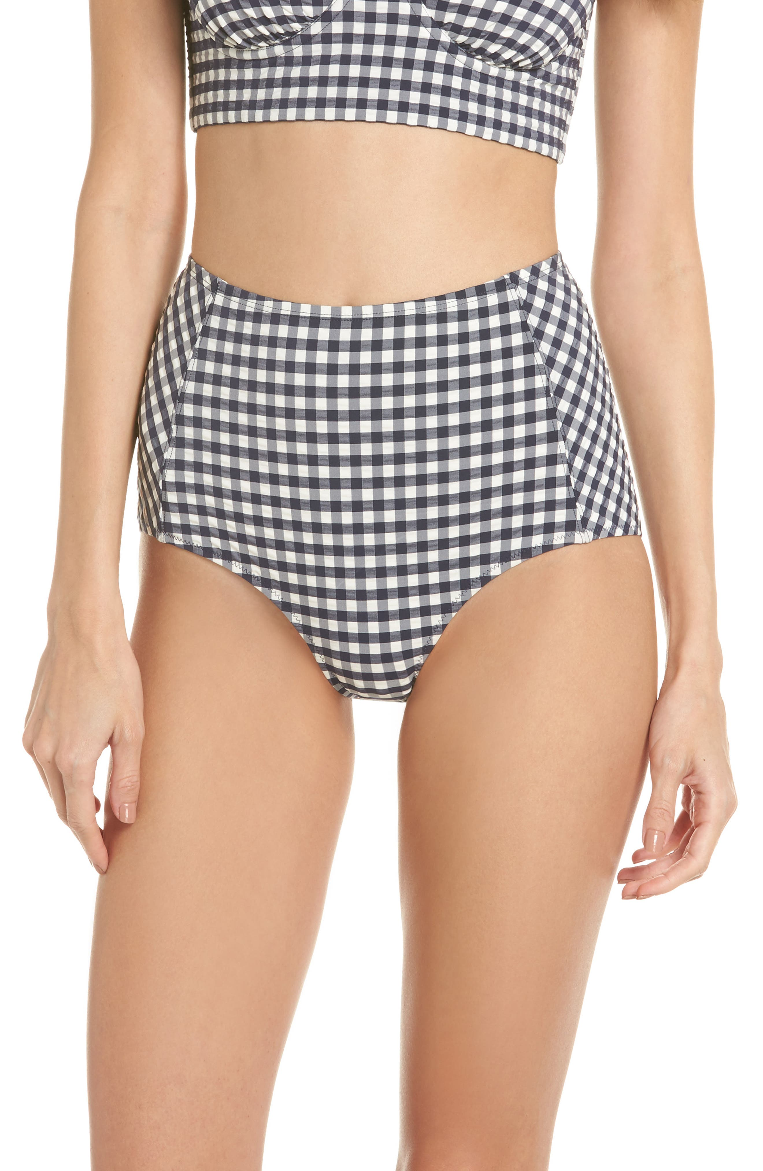 Gingham High Waist Bikini Bottoms,                         Main,                         color, Tory Navy / White