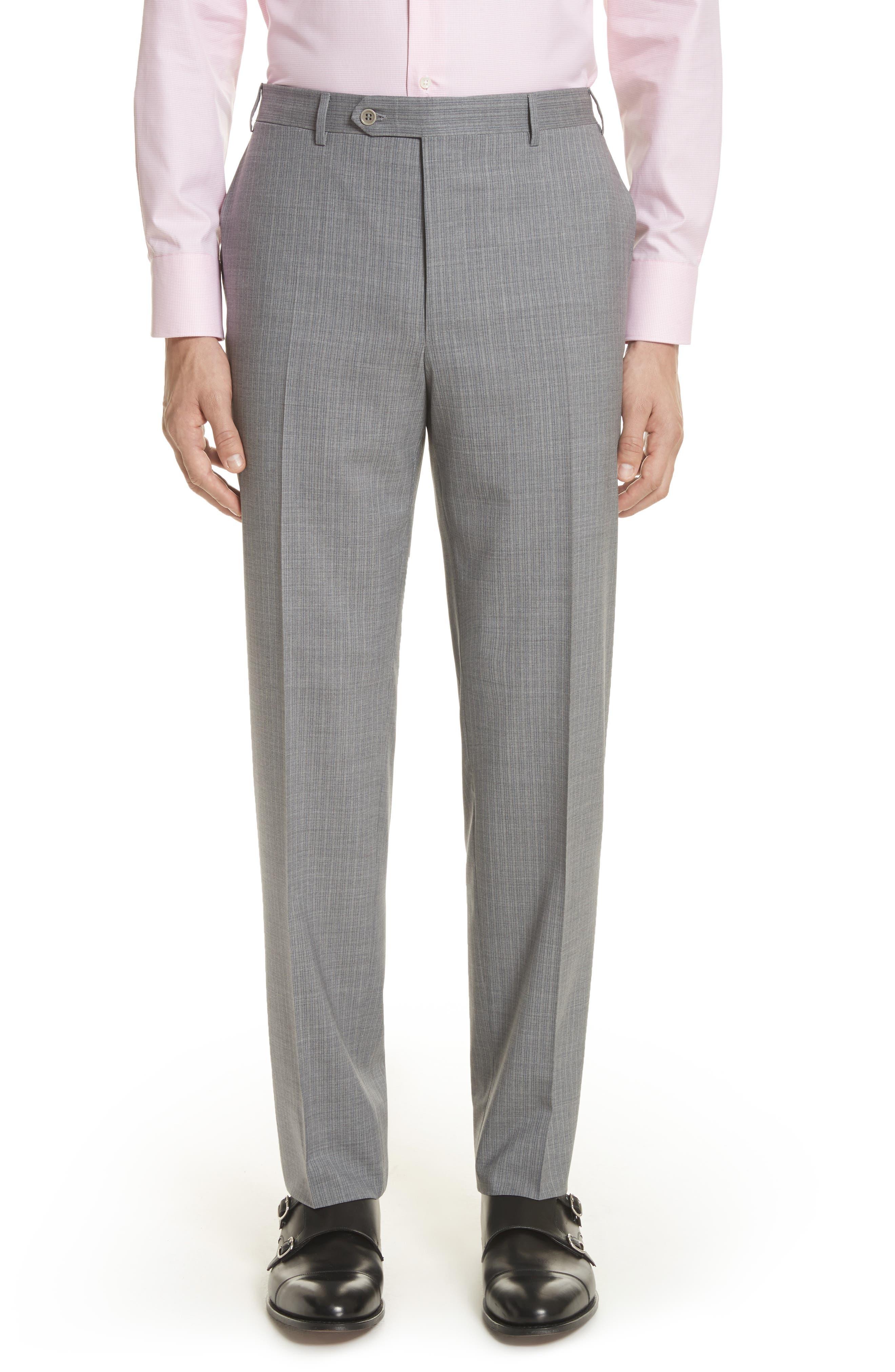 Classic Fit Stripe Wool Suit,                             Alternate thumbnail 8, color,                             Grey