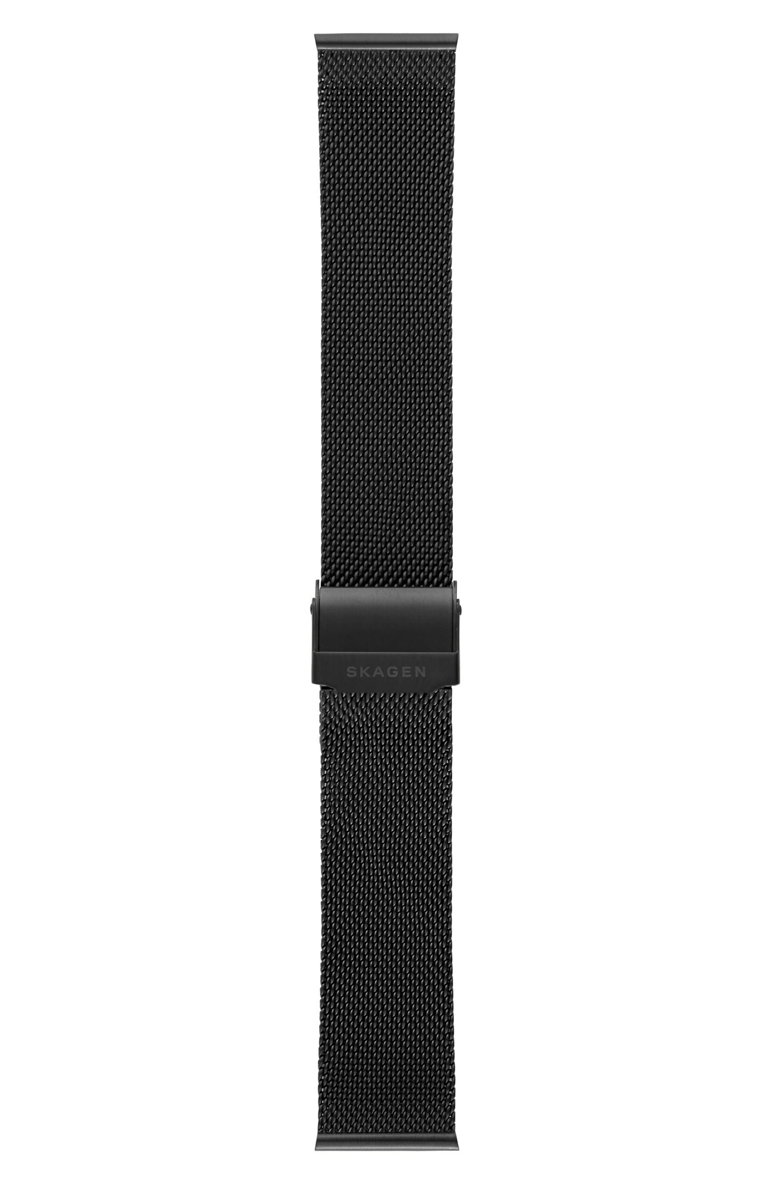 Holst Mesh Watch Strap, 21mm,                             Alternate thumbnail 2, color,                             Black