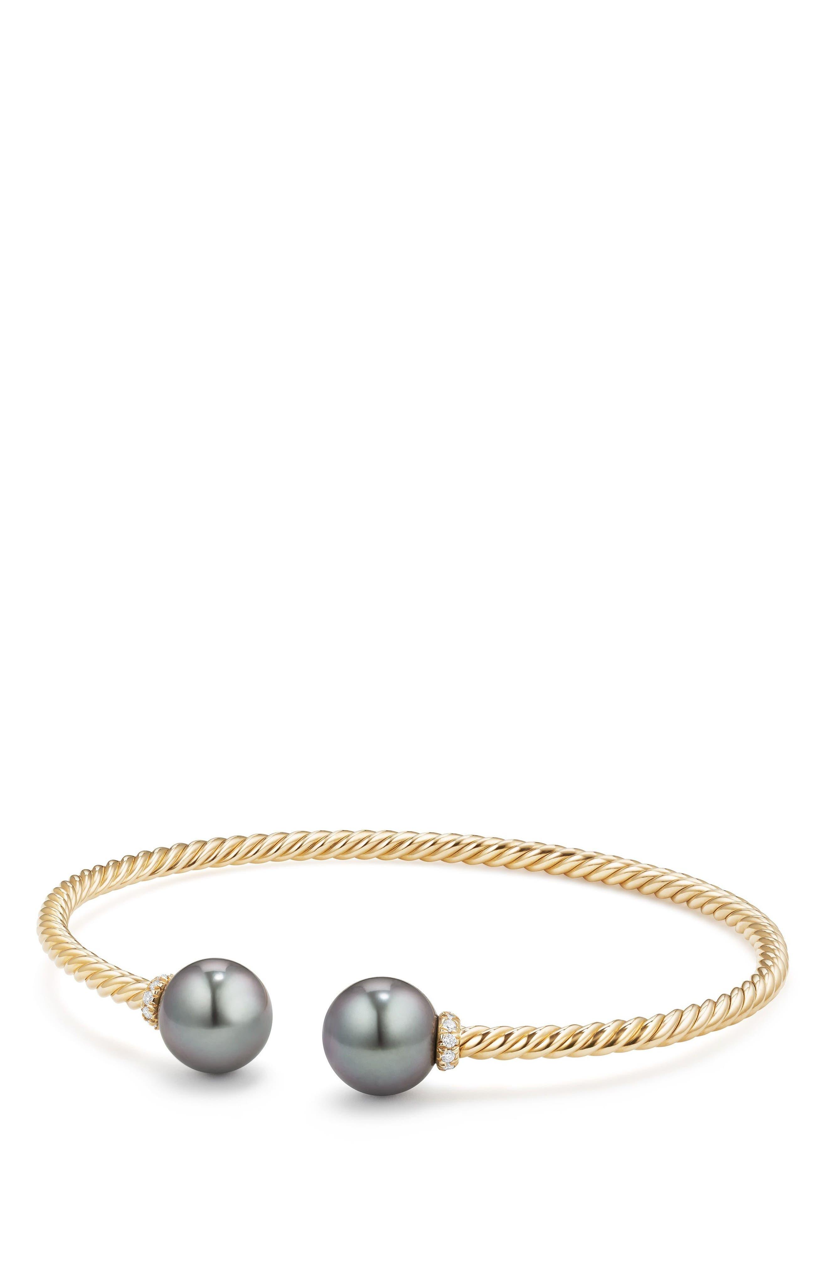 Solari Bead Bracelet with Diamonds,                             Main thumbnail 1, color,                             Gold/ Diamond/ Grey Pearl