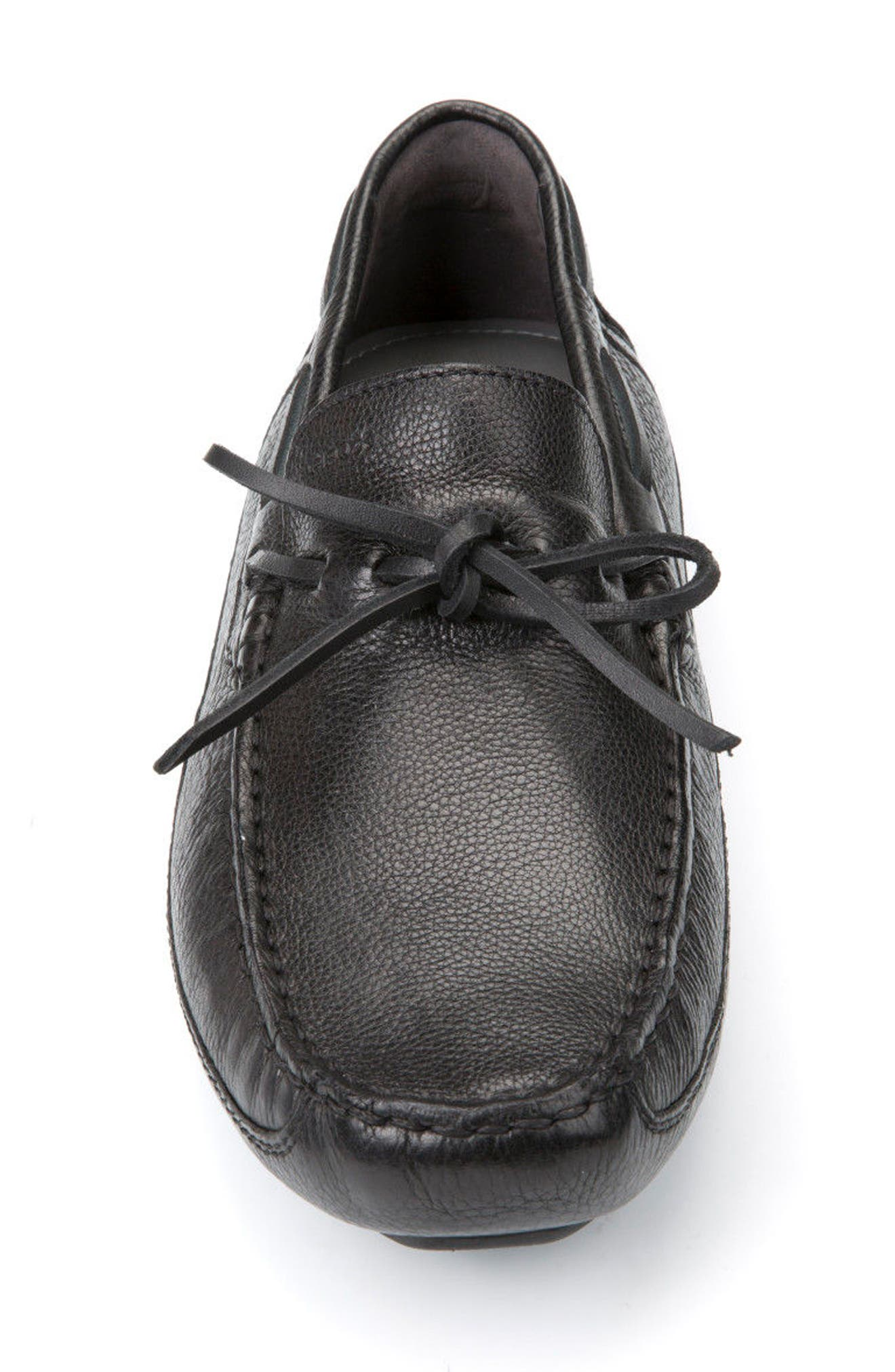 Melbourne 5 Driving Shoe,                             Alternate thumbnail 4, color,                             Black Leather