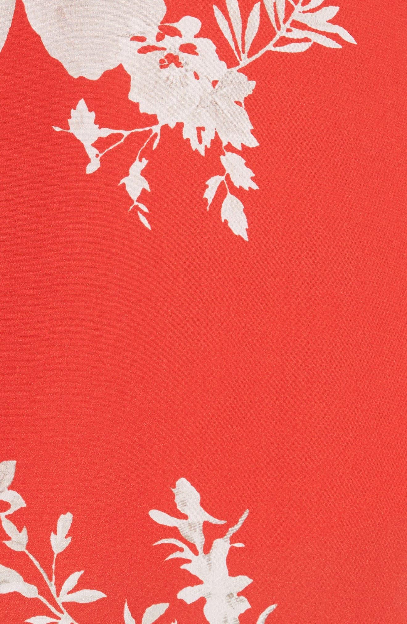 Nanette Faux Wrap Floral Silk Skirt,                             Alternate thumbnail 6, color,                             Damask Rose- Poppy