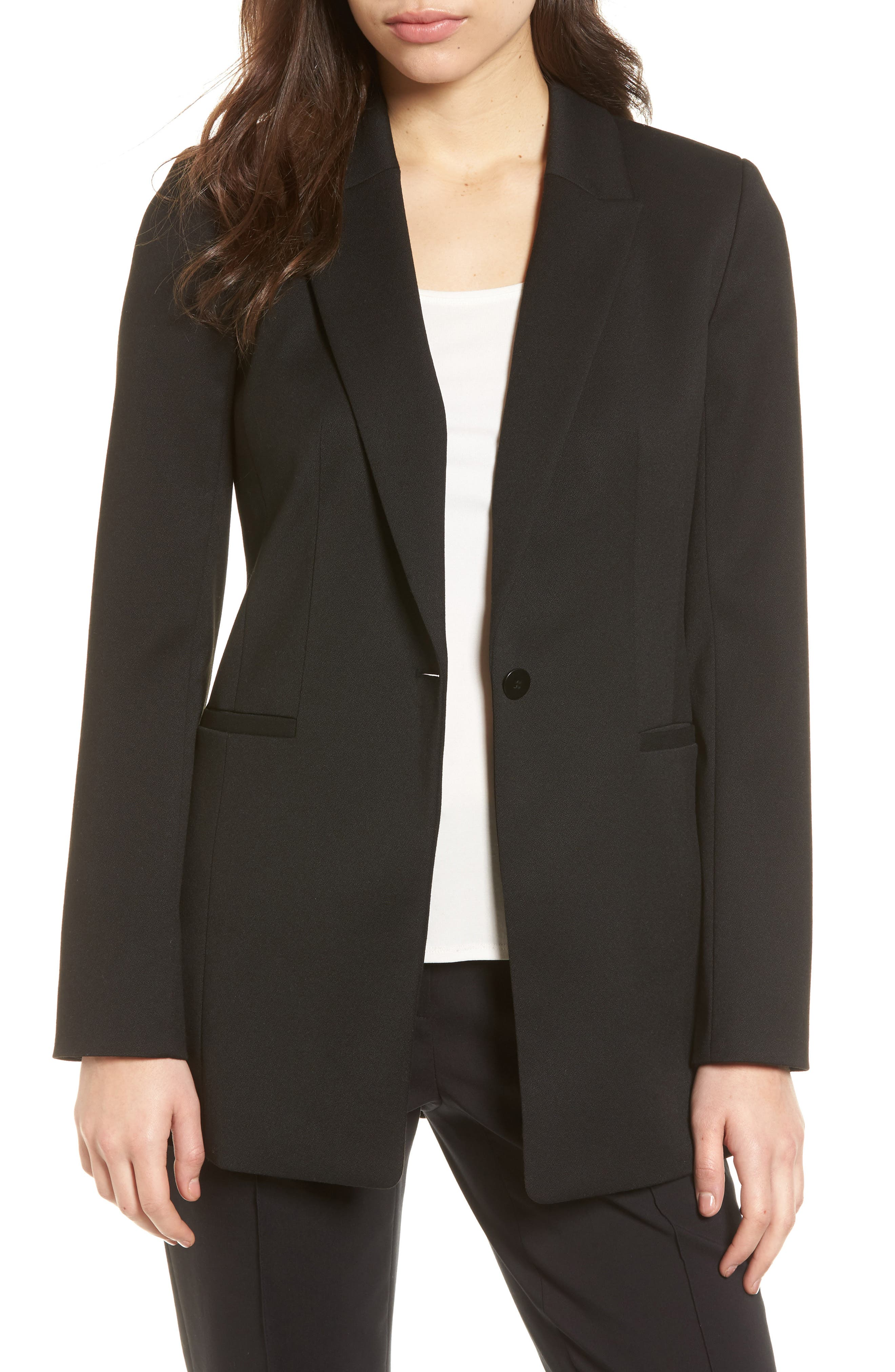 Stretch Crepe Suit Jacket,                             Main thumbnail 1, color,                             Black