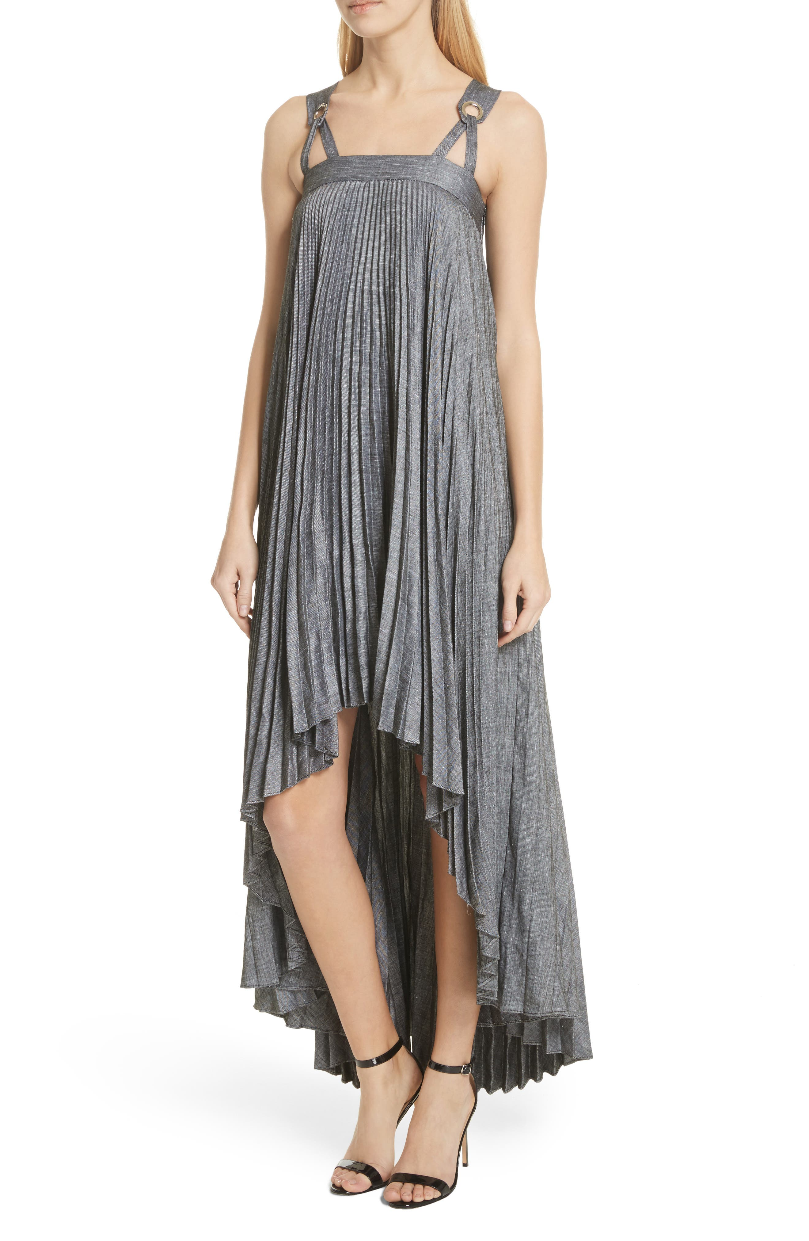 Sawyer High/Low Linen Blend Dress,                             Alternate thumbnail 4, color,                             Olive
