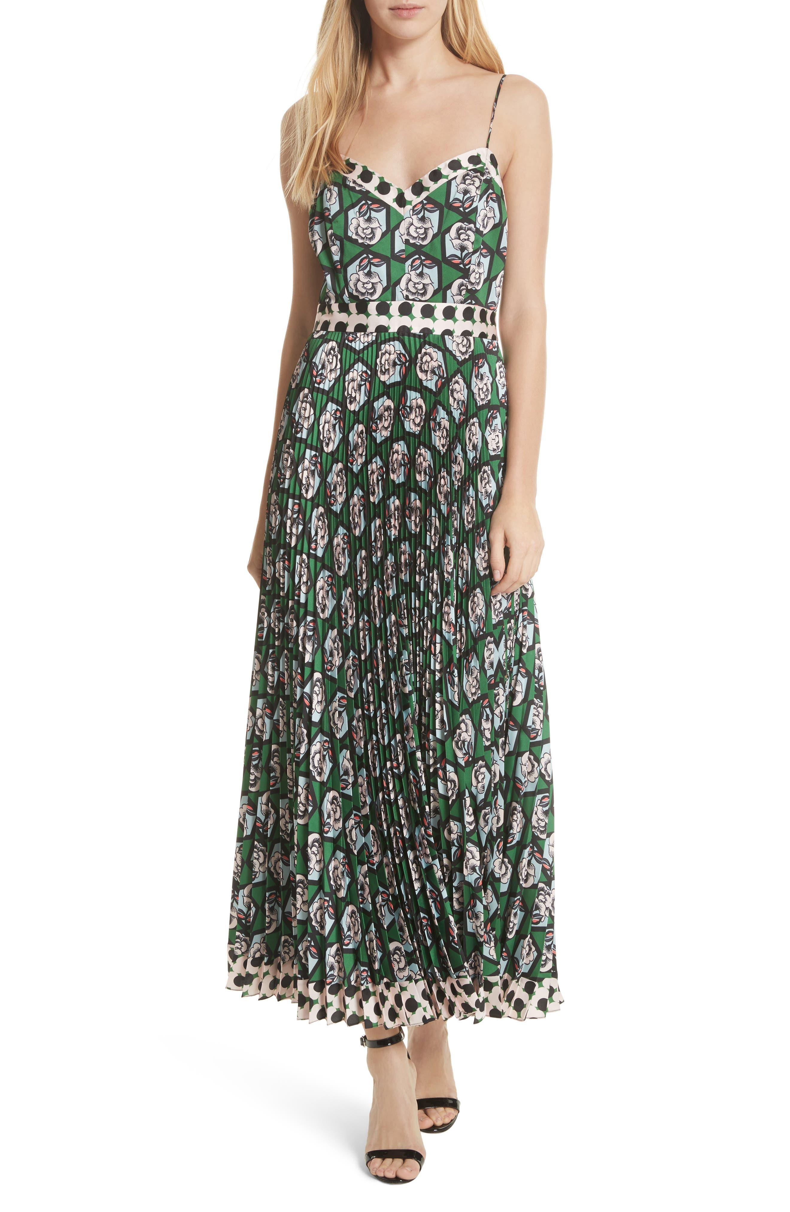 Milly Jill Hexagon Floral Print Maxi Dress