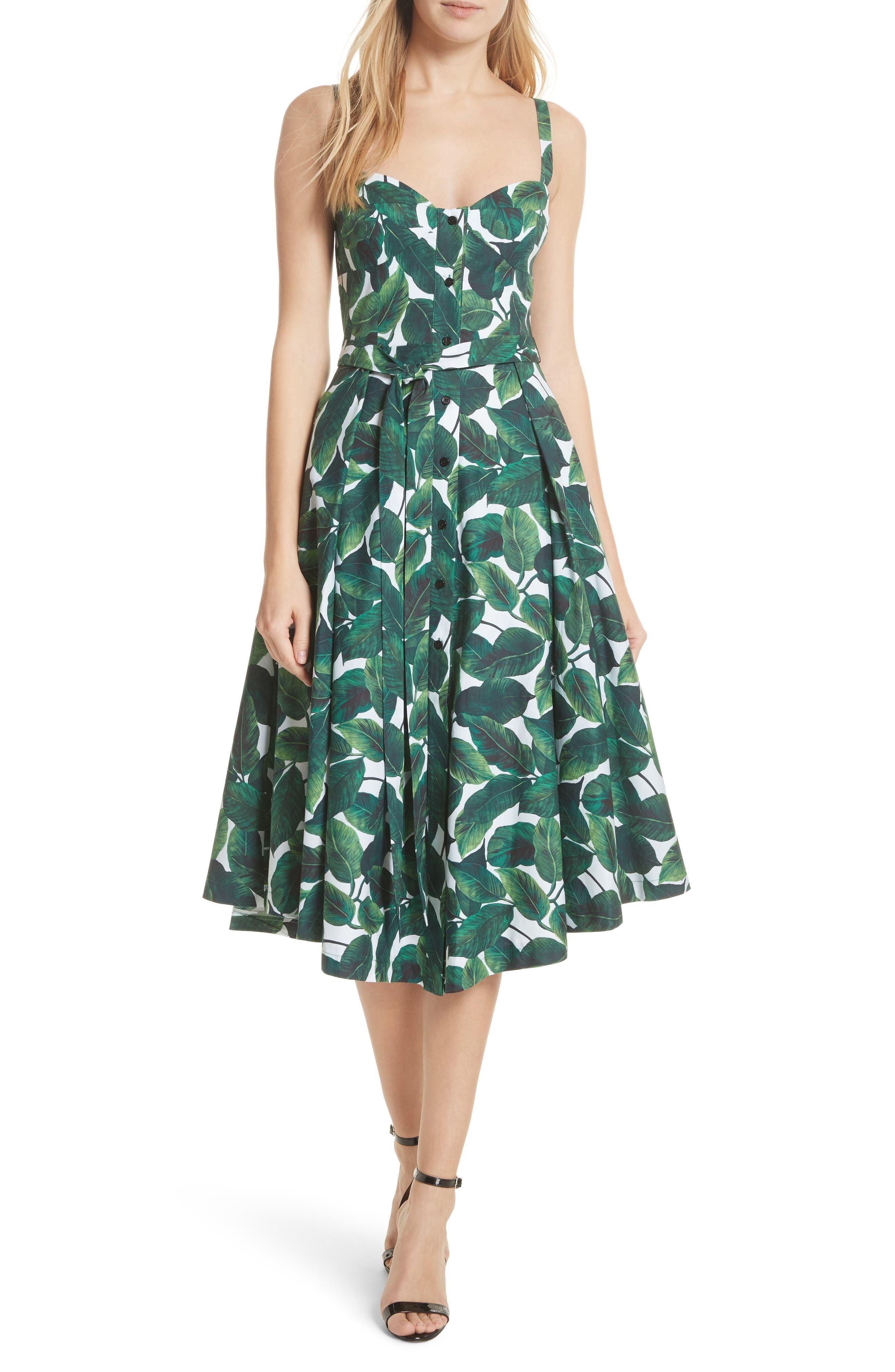 Print Poplin Midi Dress,                         Main,                         color, Emerald