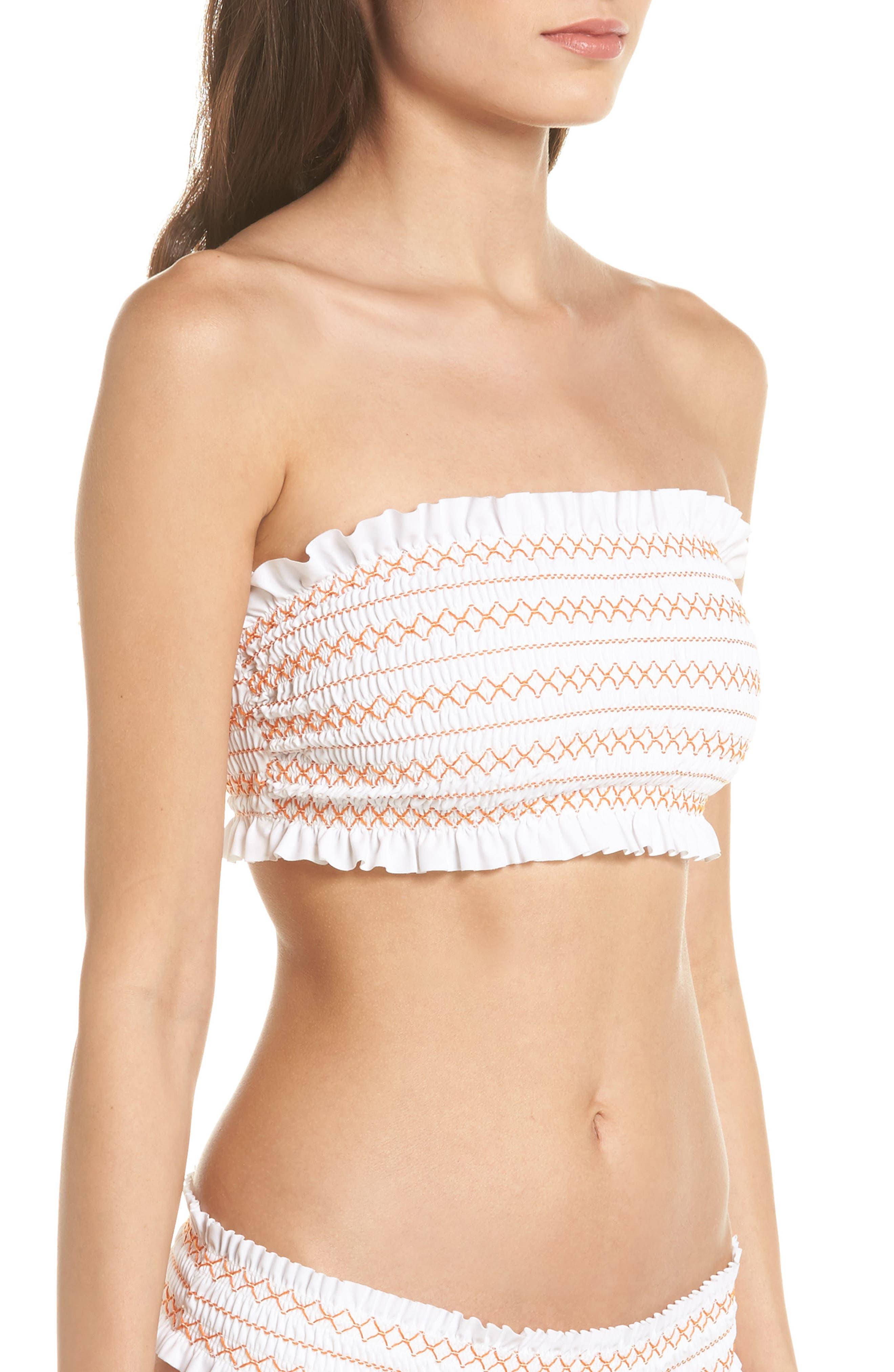 Costa Bandeau Bikini Top,                             Alternate thumbnail 3, color,                             White/ Fresh Melon