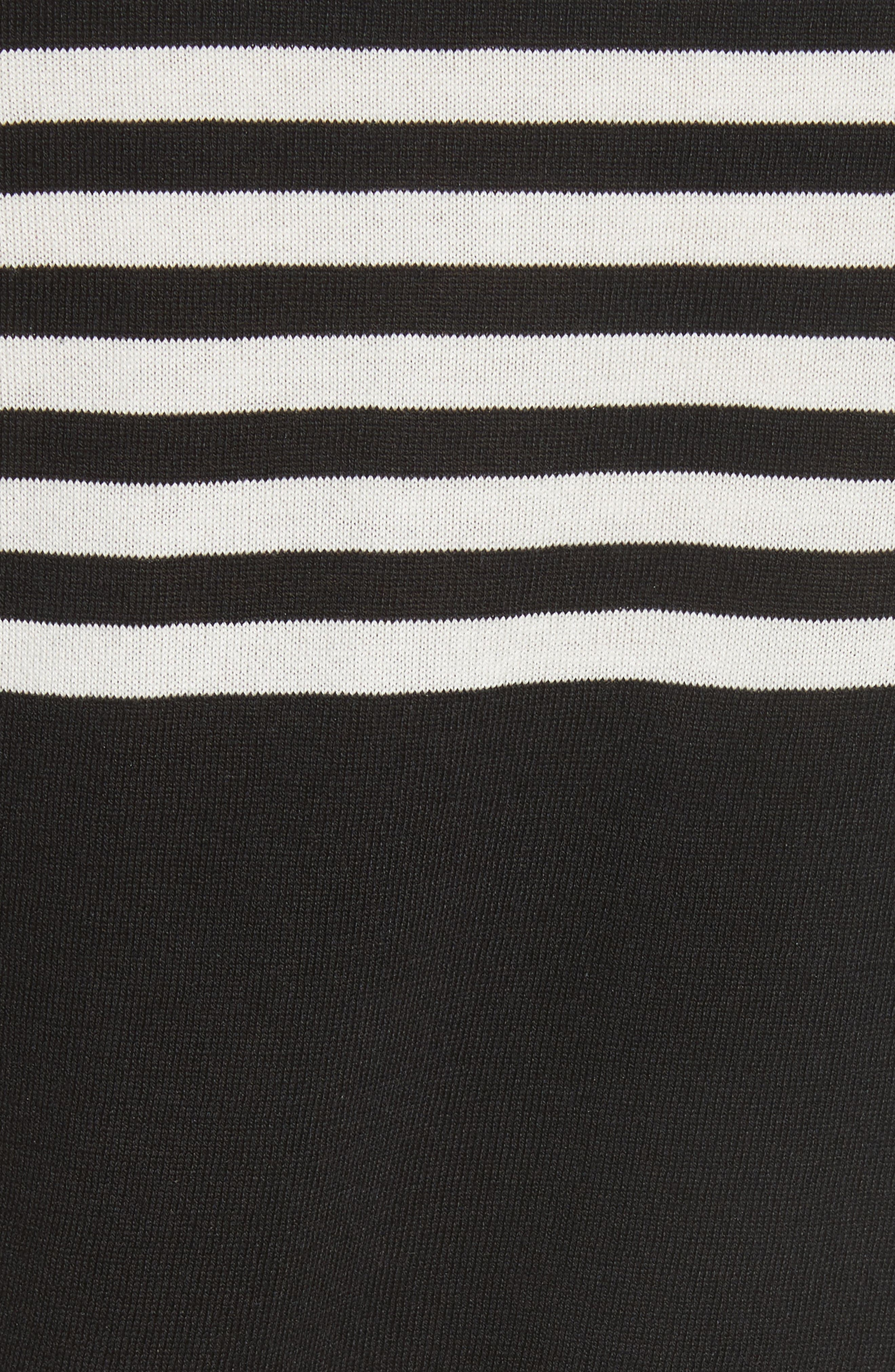 Stripe Silk & Cotton Sweater,                             Alternate thumbnail 5, color,                             Black
