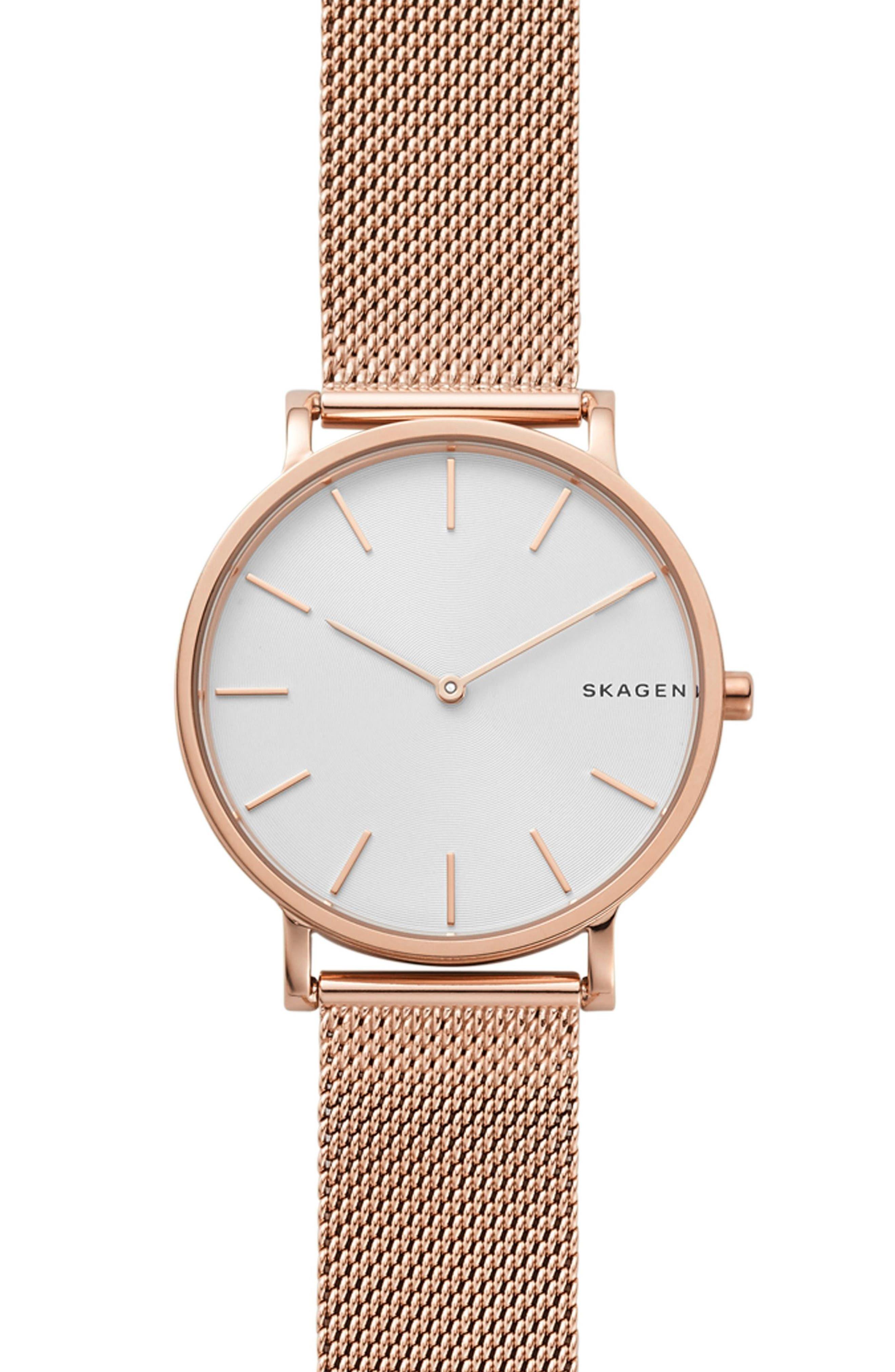 Hagen Slim Mesh Strap Watch, 38mm,                         Main,                         color, Rose Gold