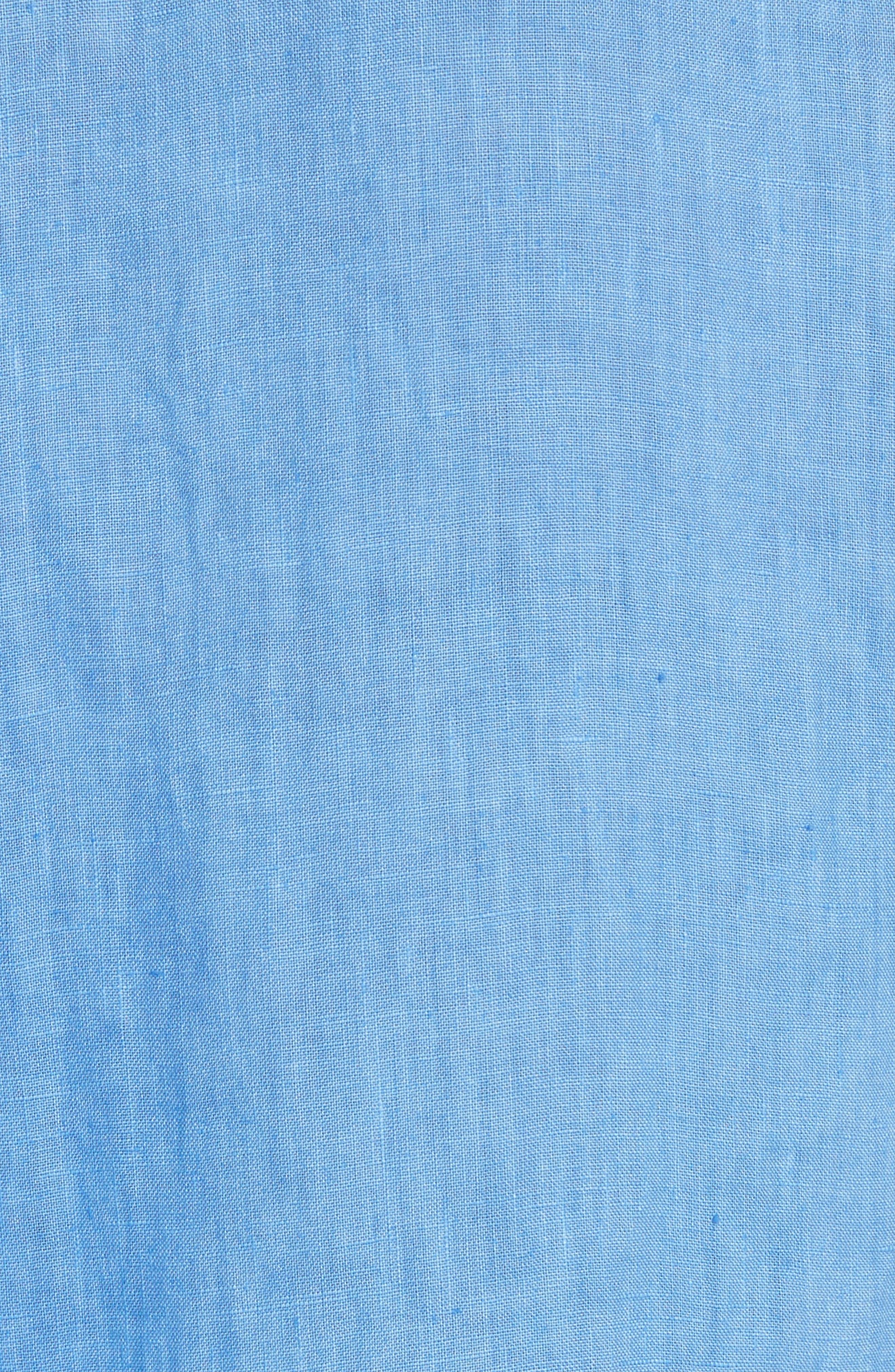 Short Sleeve Woven Linen Shirt,                             Alternate thumbnail 5, color,                             Blue