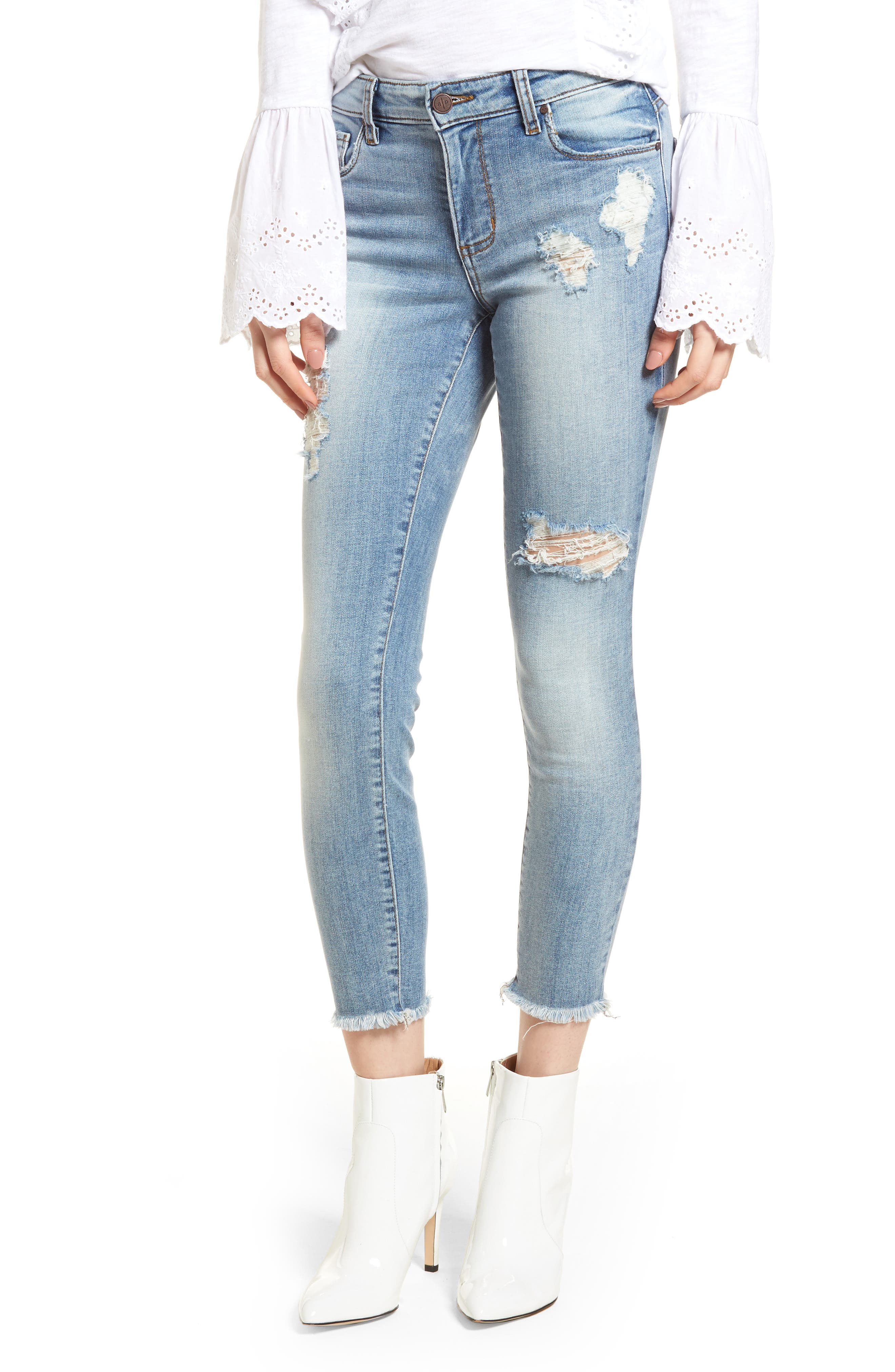 Emma Ripped Ankle Skinny Jeans,                             Main thumbnail 1, color,                             Medium Wash