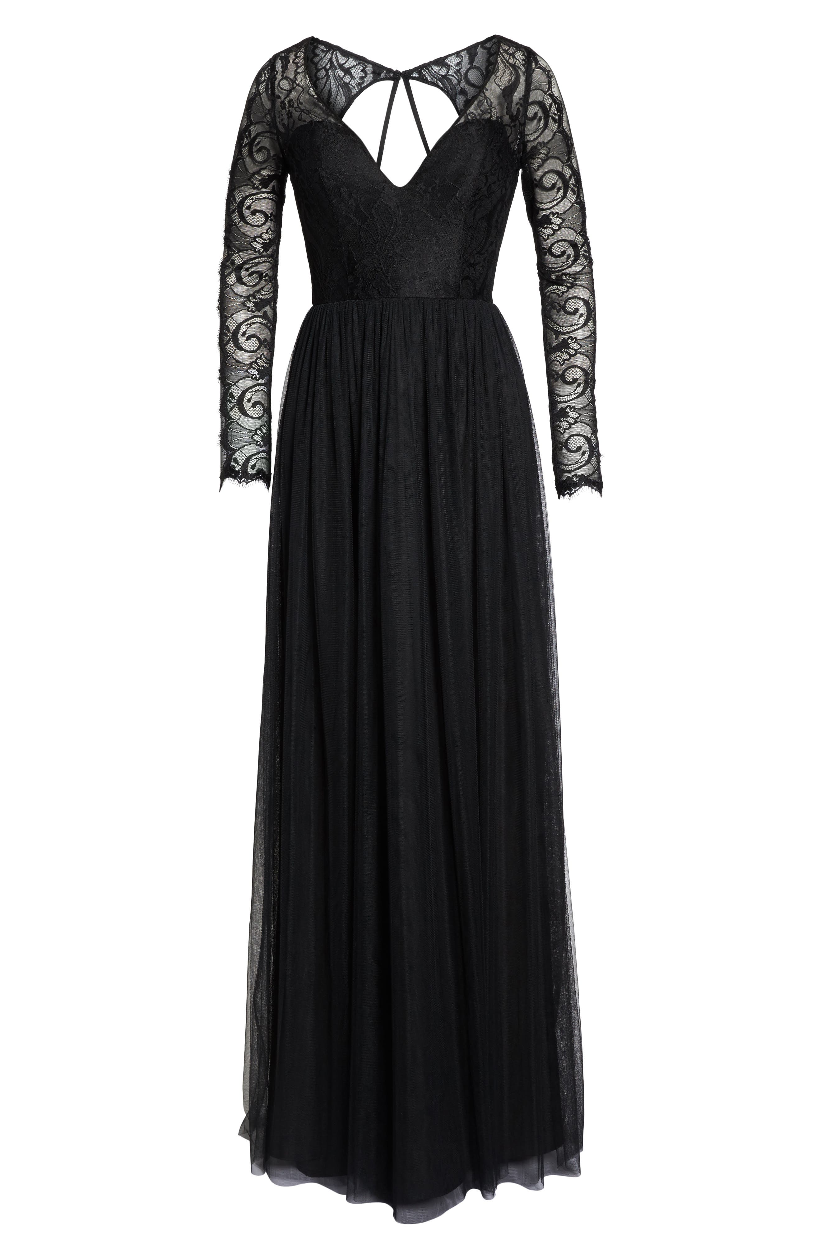 Open Back Lace & Net A-Line Gown,                             Alternate thumbnail 6, color,                             Black