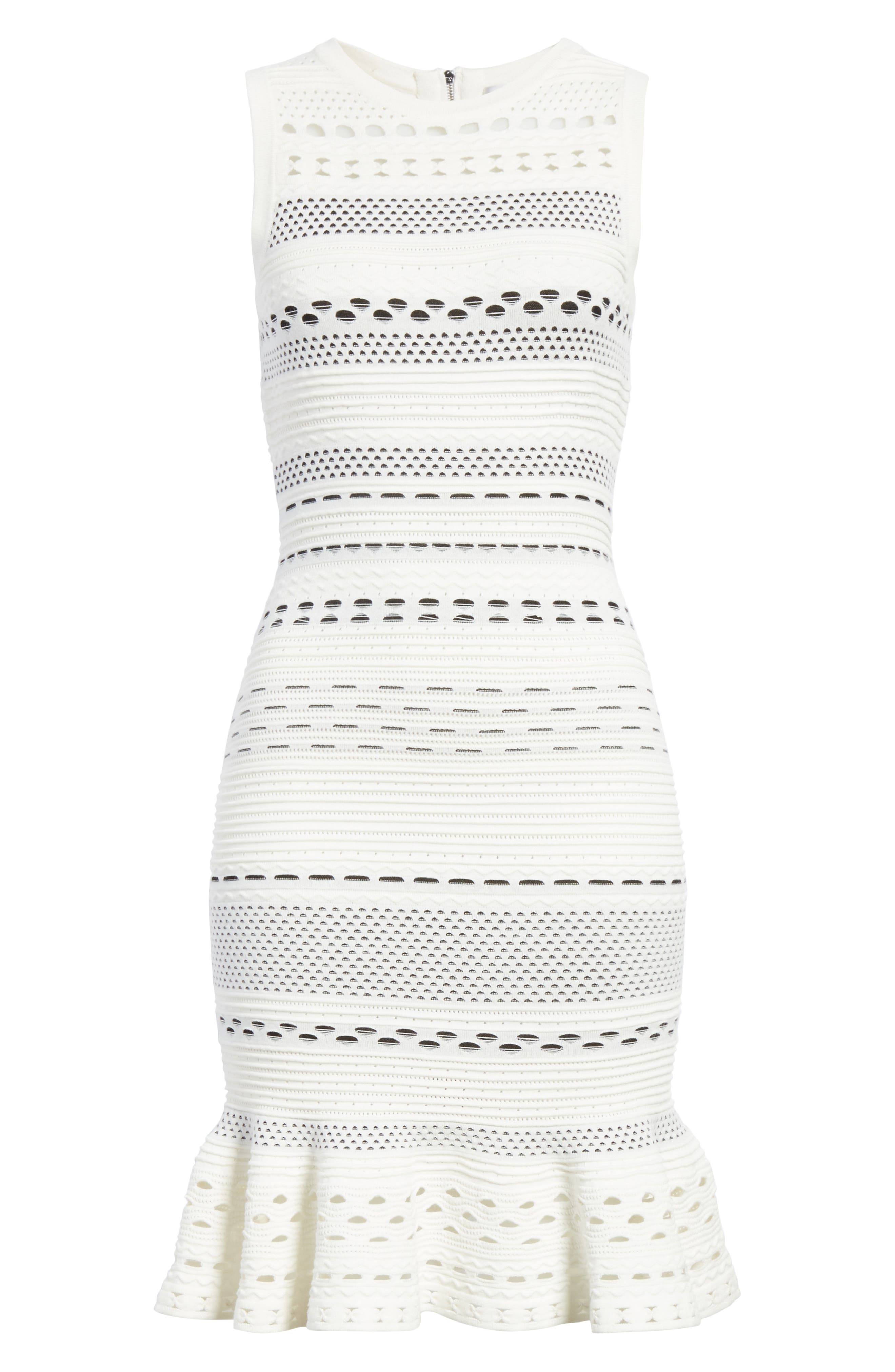 Cutout Lace Knit Dress,                             Alternate thumbnail 6, color,                             White/ Black