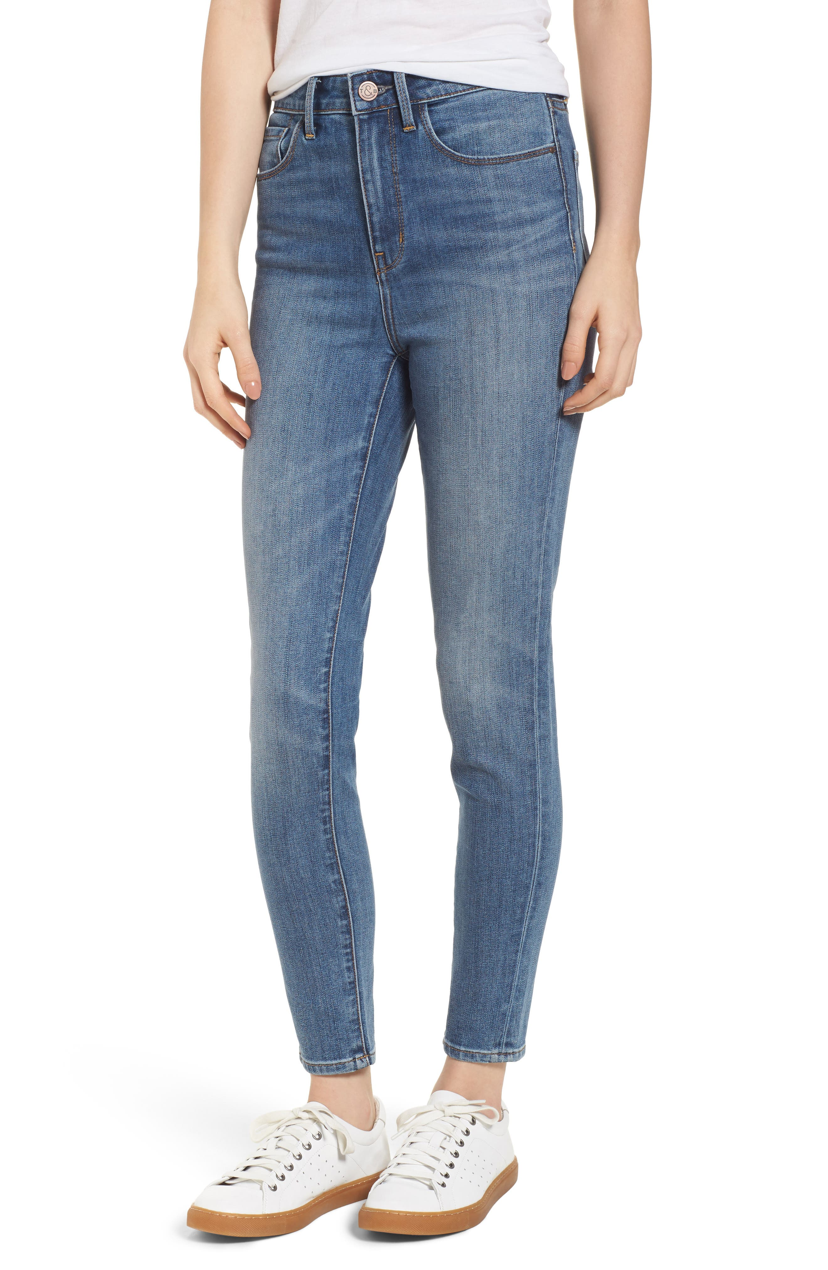 Charity High Waist Skinny Ankle Jeans,                         Main,                         color, Rain Dusk Worn