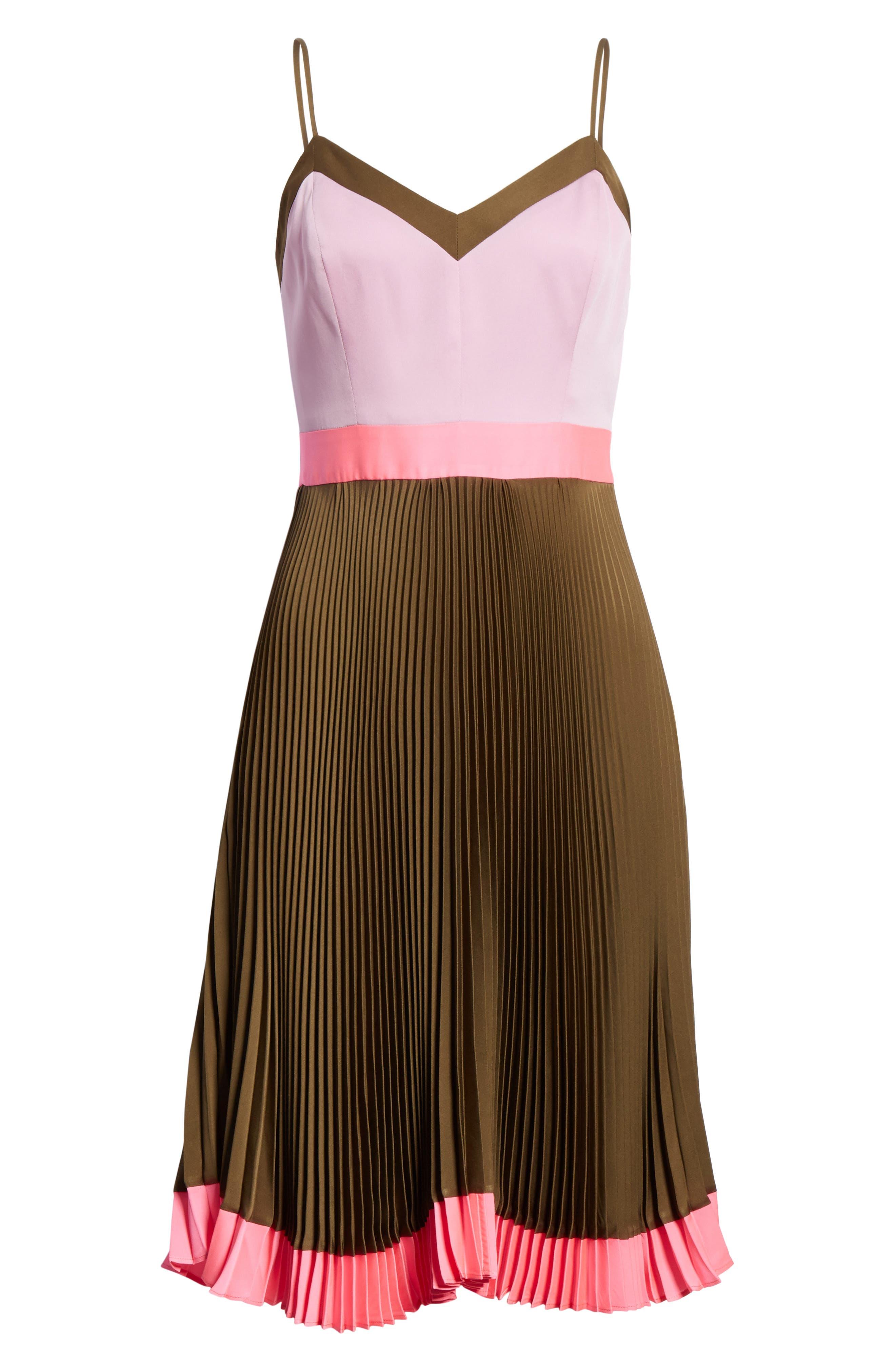 Jill Pleated Stretch Silk Dress,                             Alternate thumbnail 6, color,                             Olive/ Petal/ Fluo Pink