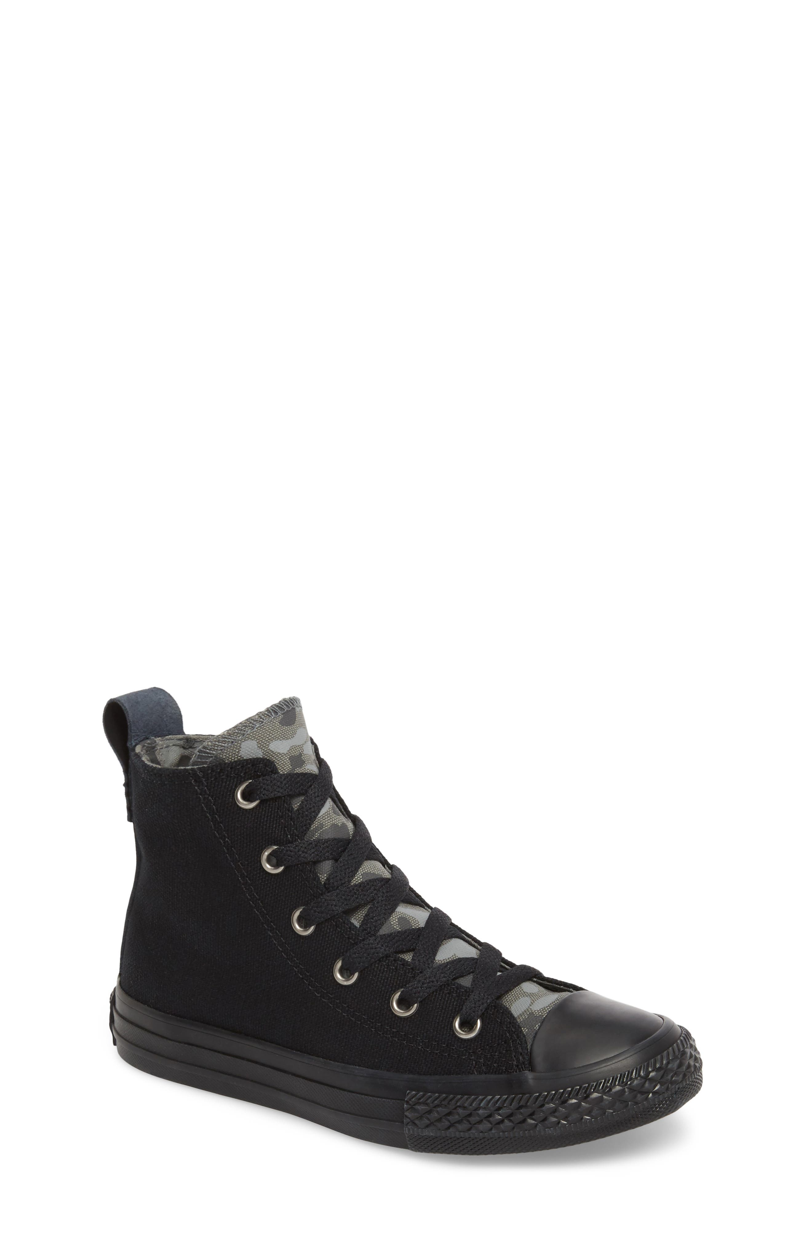Chuck Taylor<sup>®</sup> All Star<sup>®</sup> Camo High Top Sneaker,                         Main,                         color, Black