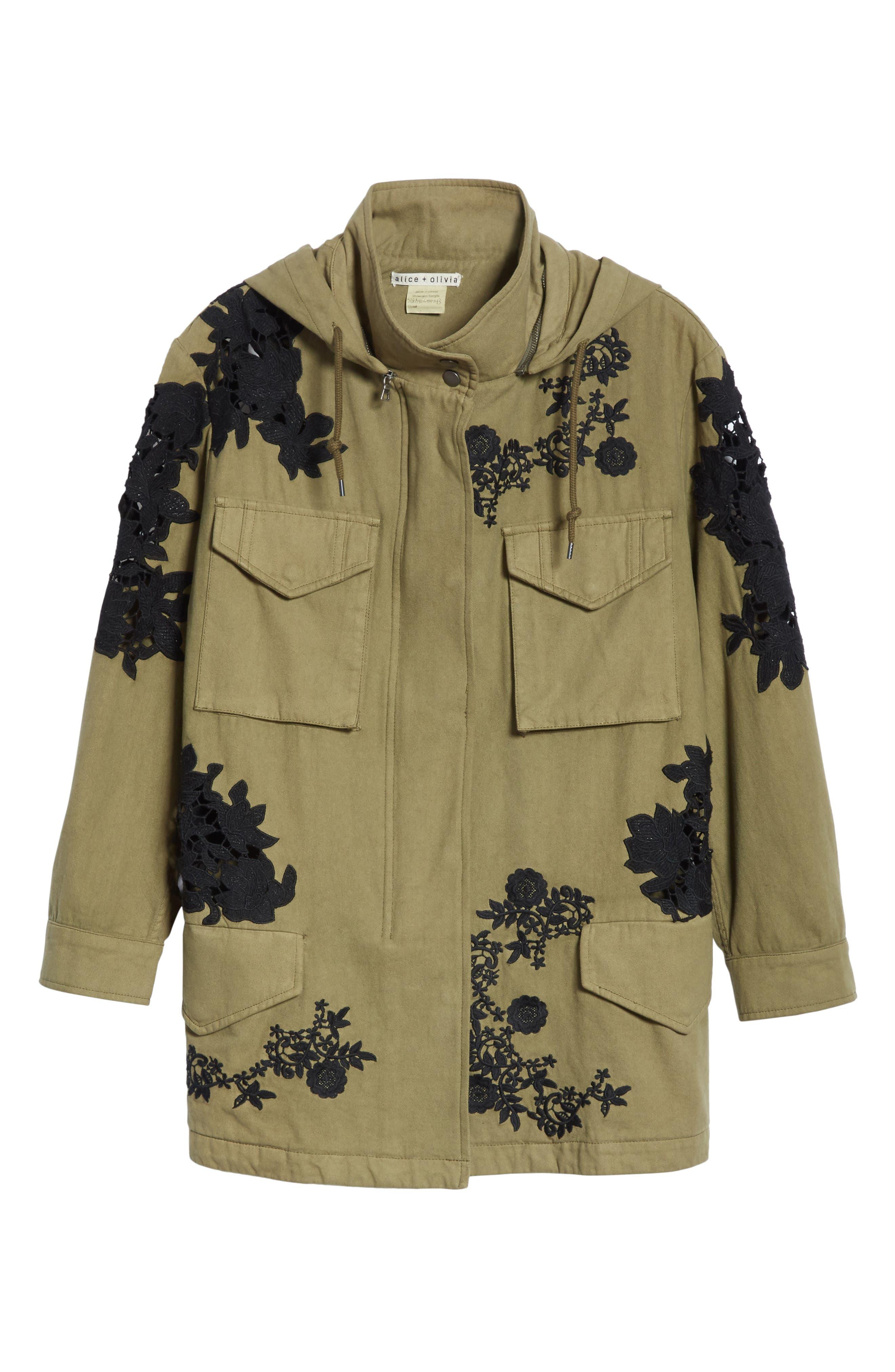 Meta Embroidered Utility Jacket,                             Alternate thumbnail 6, color,                             Olive/ Black
