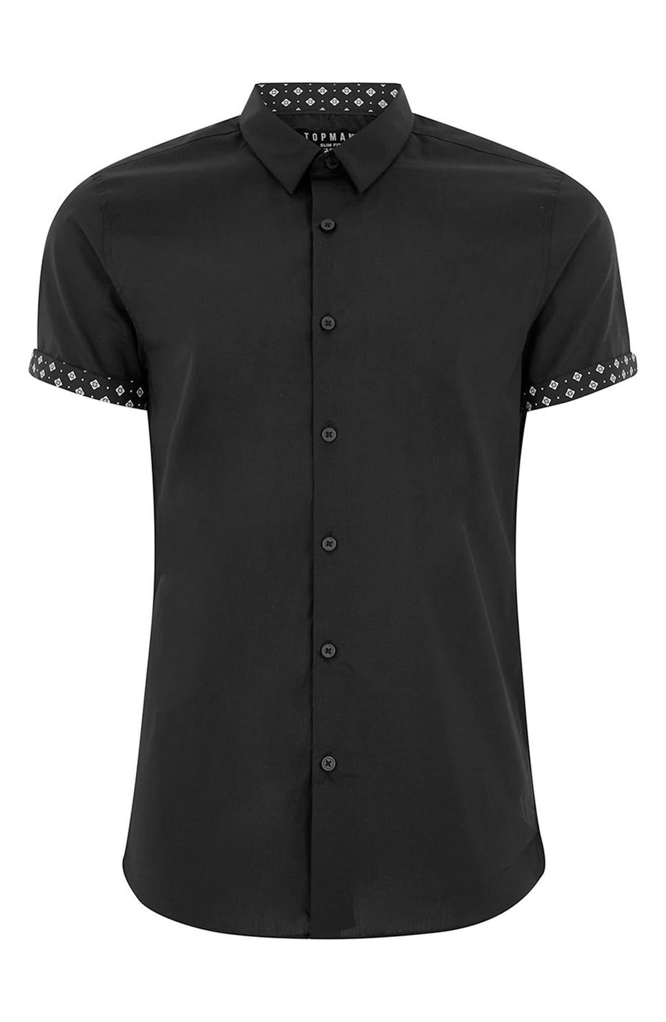 Slim Fit Geo Print Shirt,                             Alternate thumbnail 4, color,                             Black Multi