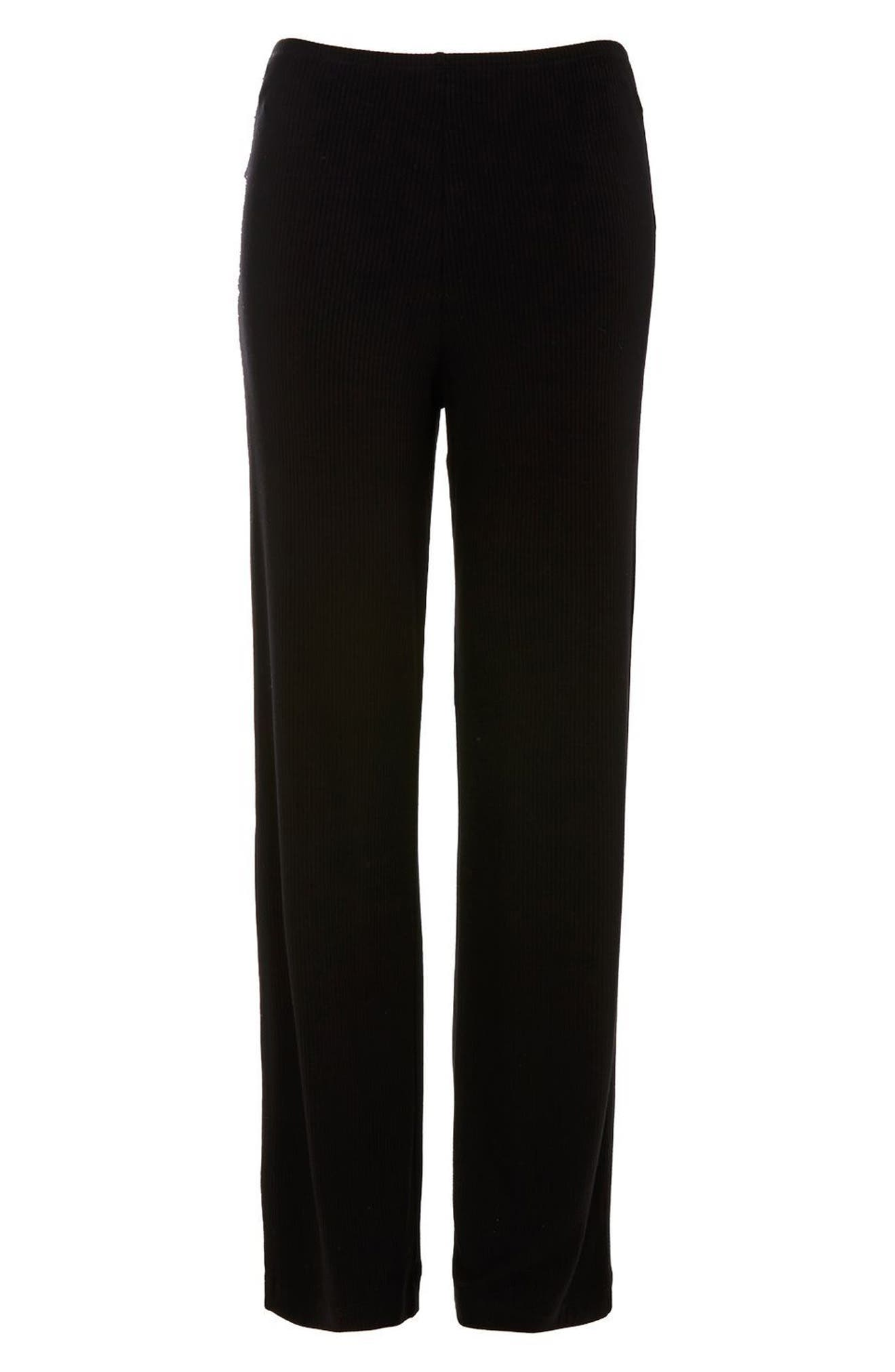 Ribbed Pajama Pants,                             Alternate thumbnail 3, color,                             Black