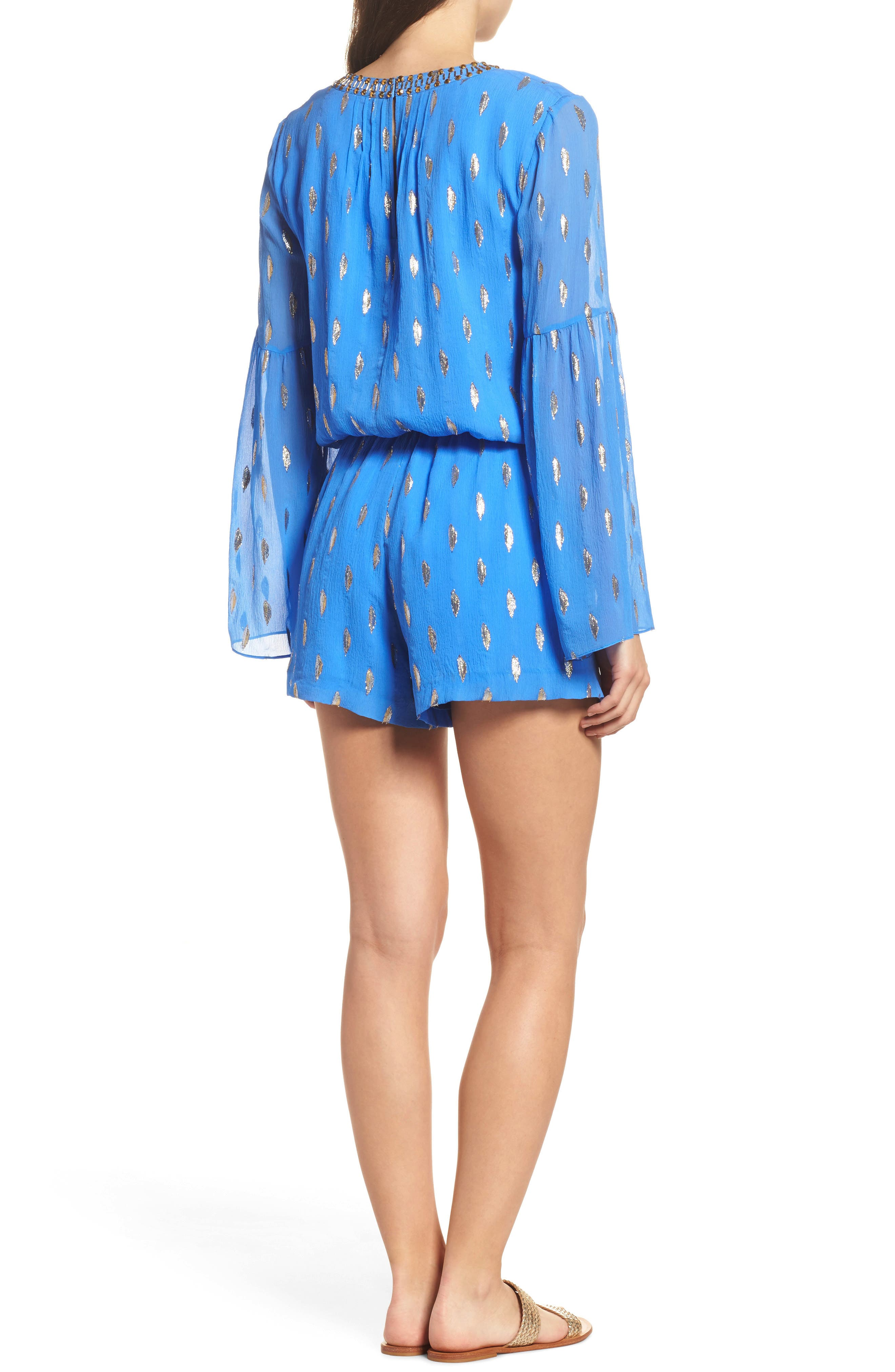 Ariele Silk Romper,                             Alternate thumbnail 2, color,                             Blue Diamond Metallic Clip