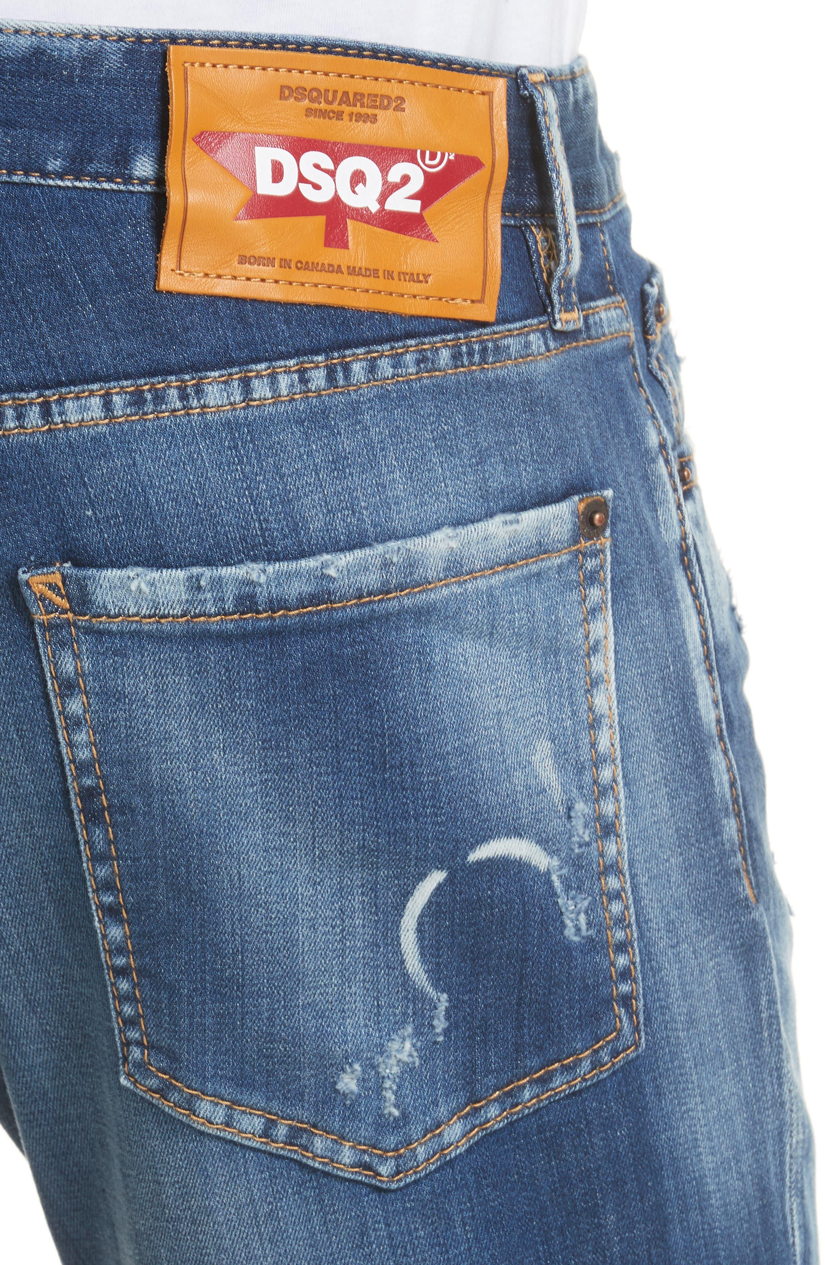 Slim Fit Medium Wash Jeans,                             Alternate thumbnail 4, color,                             Navy/Blue