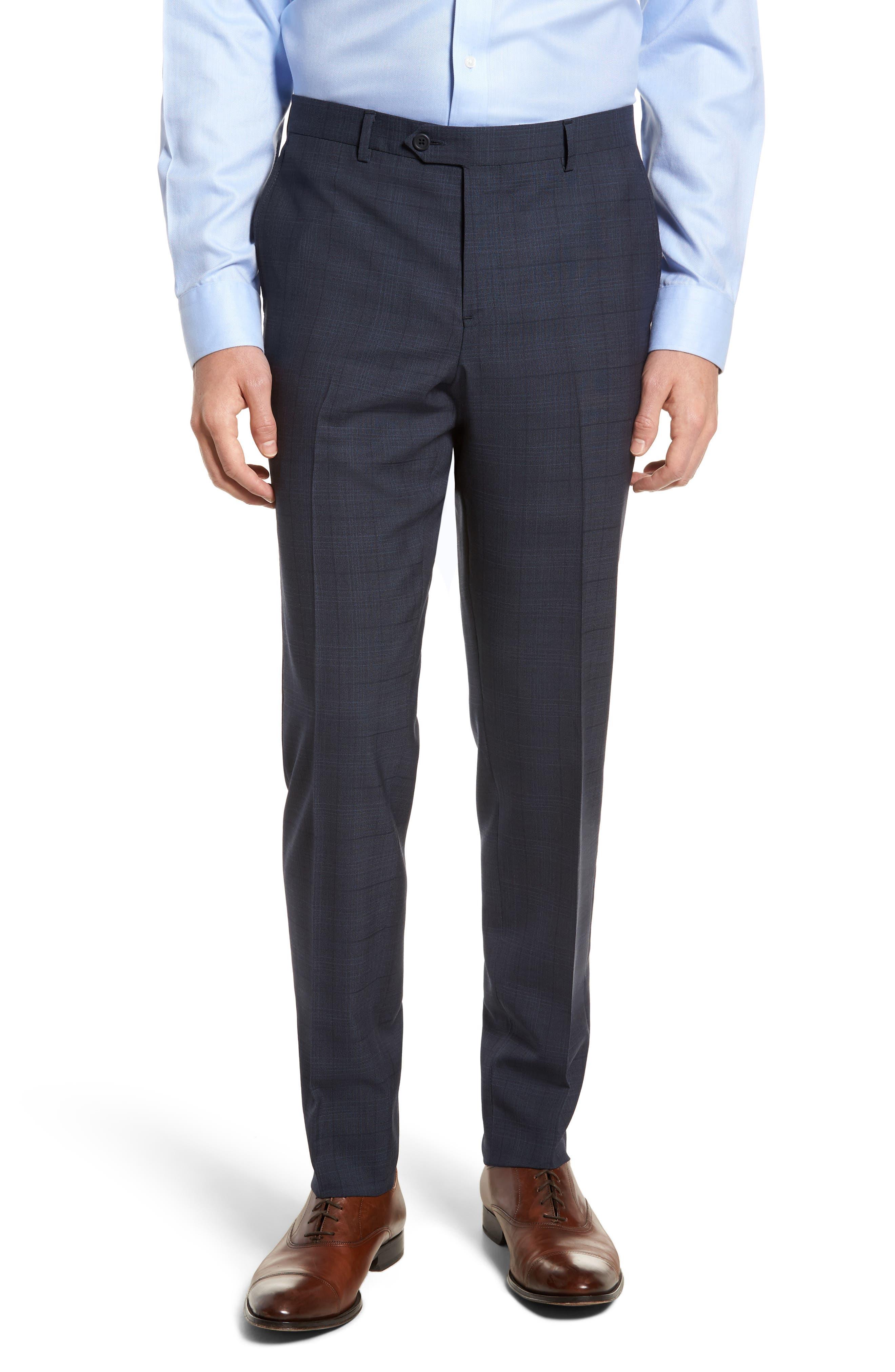 Extra Trim Fit Plaid Wool Suit,                             Alternate thumbnail 5, color,                             Navy Blue