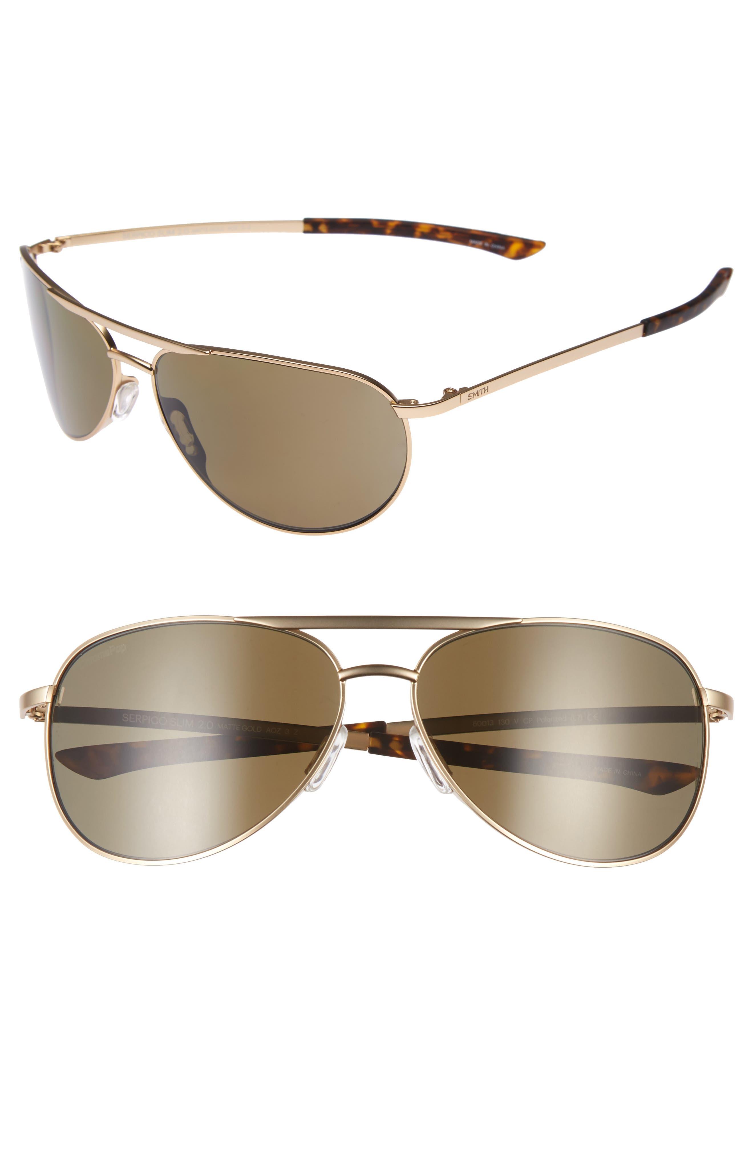 Serpico Slim 2.0 60mm ChromaPop Polarized Aviator Sunglasses,                         Main,                         color, Gold/ Brown Polar