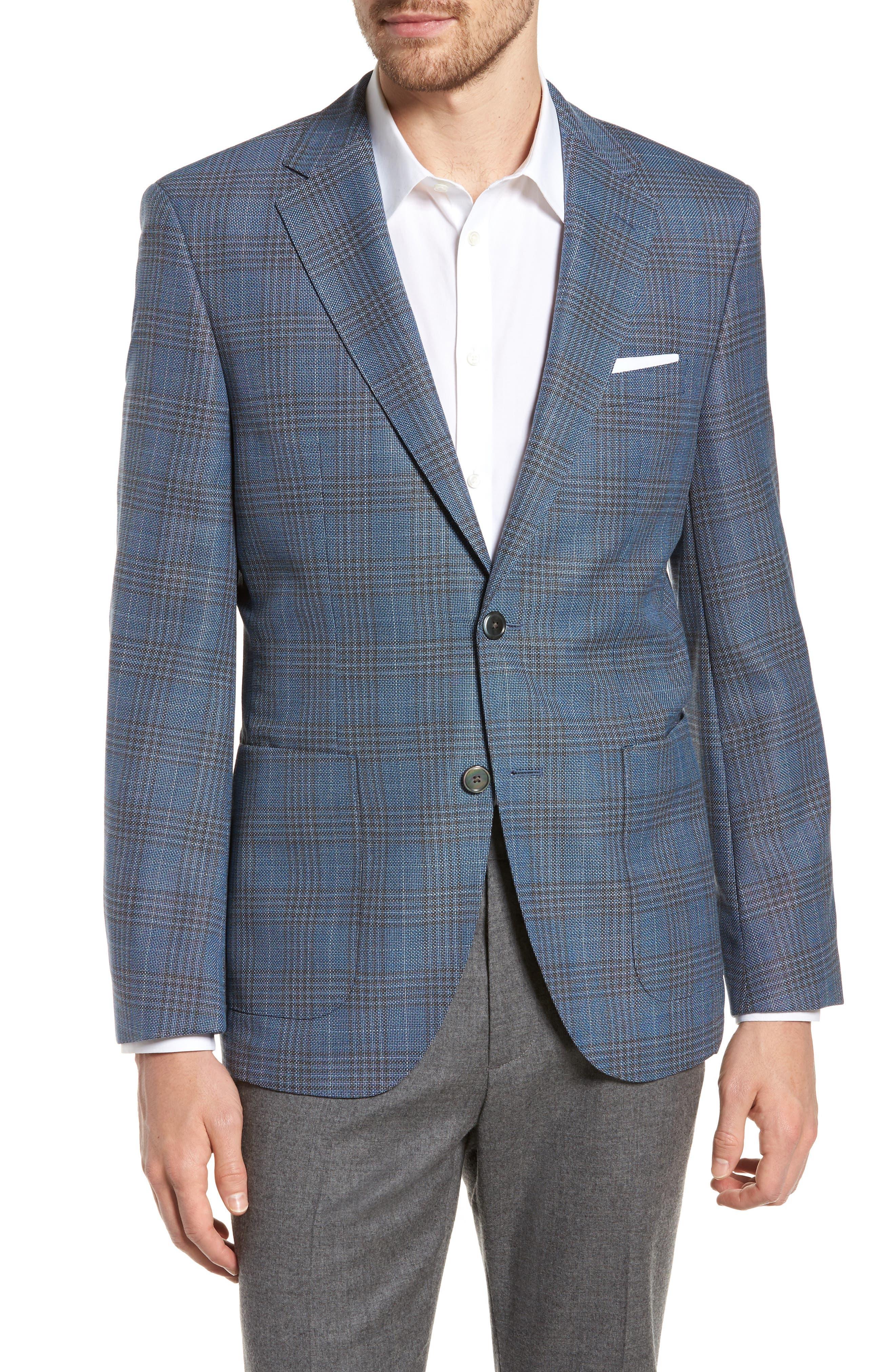 BOSS Janson Classic Fit Plaid Wool Sport Coat